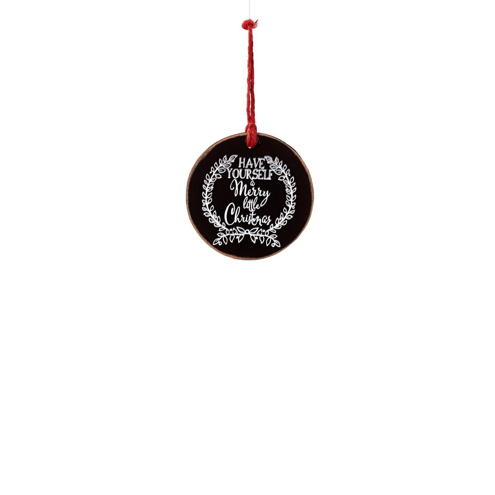 Teters Floral Products Round Chalkboard Christmas Ornament