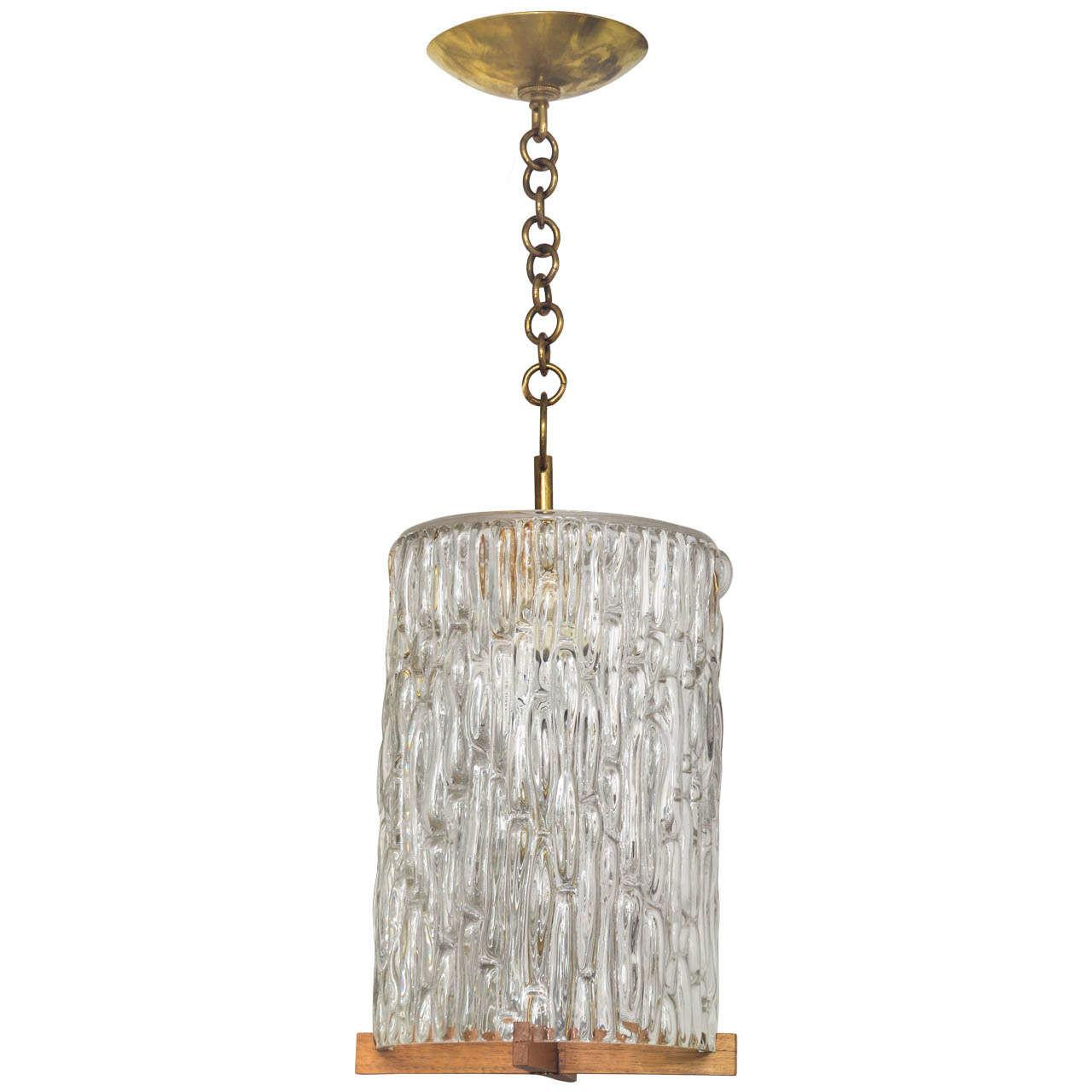 Textured Glass Pendant Wood Brass Detail