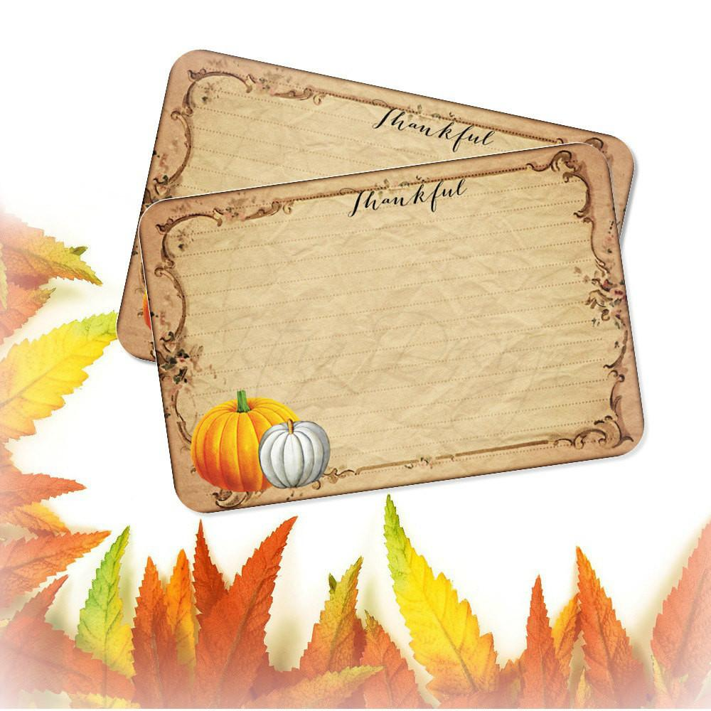 Thankful Cards Pumpkin Recipe Card Set Thanksgiving