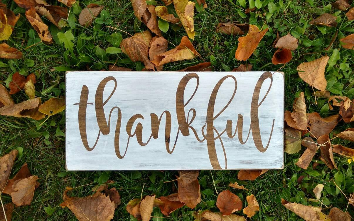 Thankful Sign Wall Art Fall Decor Autumn Rustic Wood