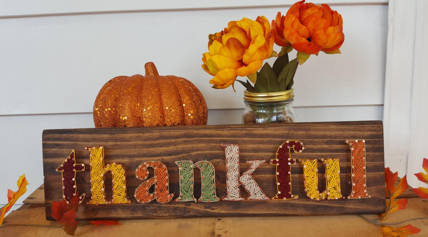 Thankful String Art Thanksgiving Decor Fall Pallet