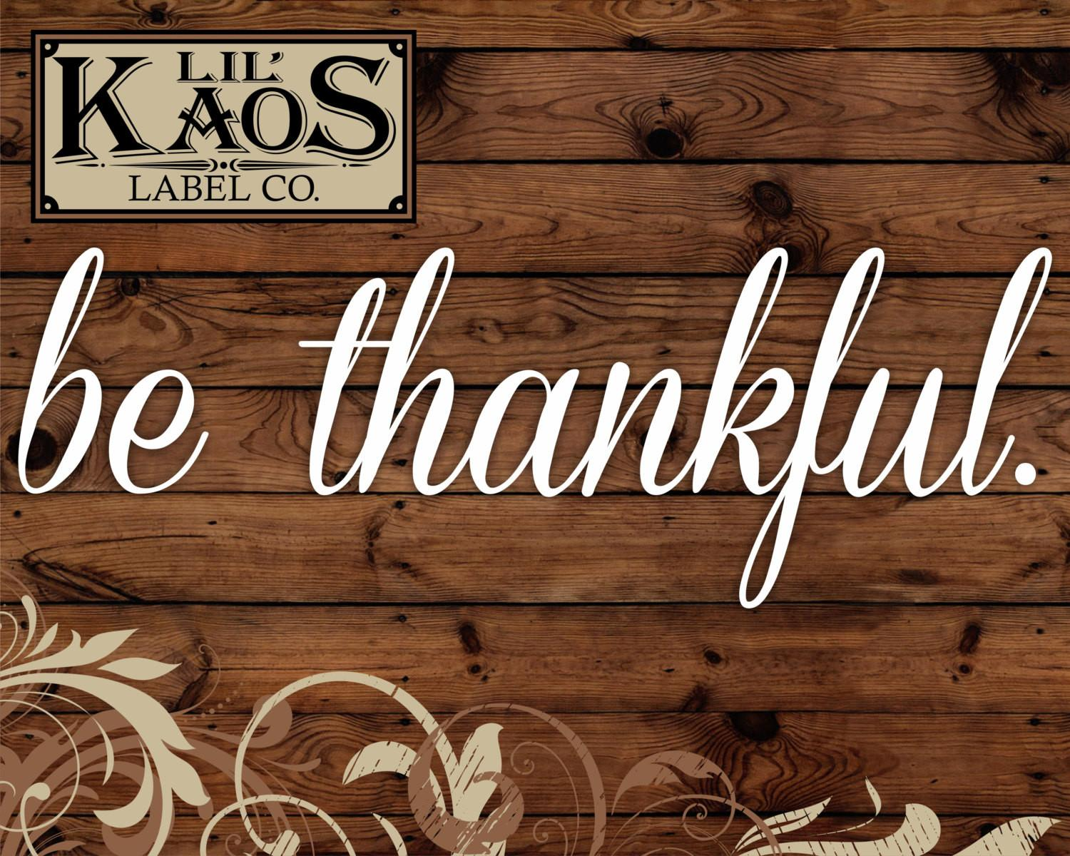 Thankful Vinyl Decal Sticker Rustic Wood Sign Diy