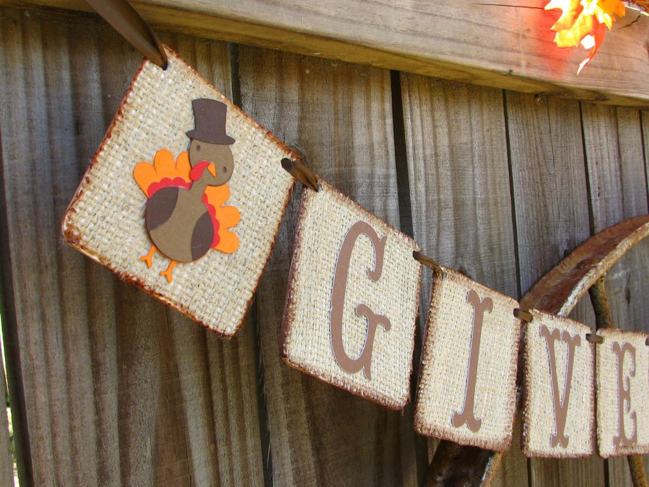 Thanksgiving Banner Give Thanks Rustic
