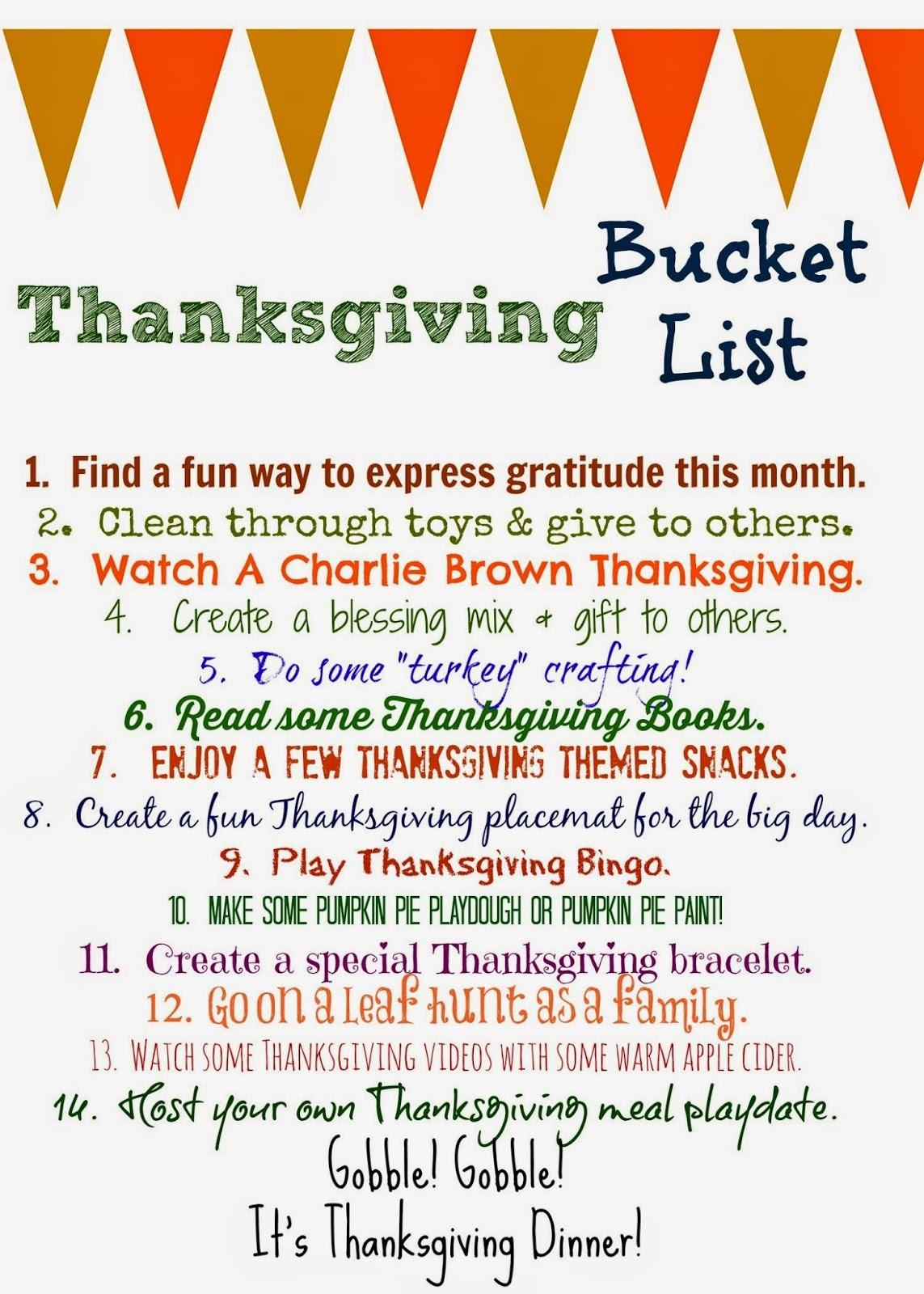 Thanksgiving Bucket List Printable Chirping Moms
