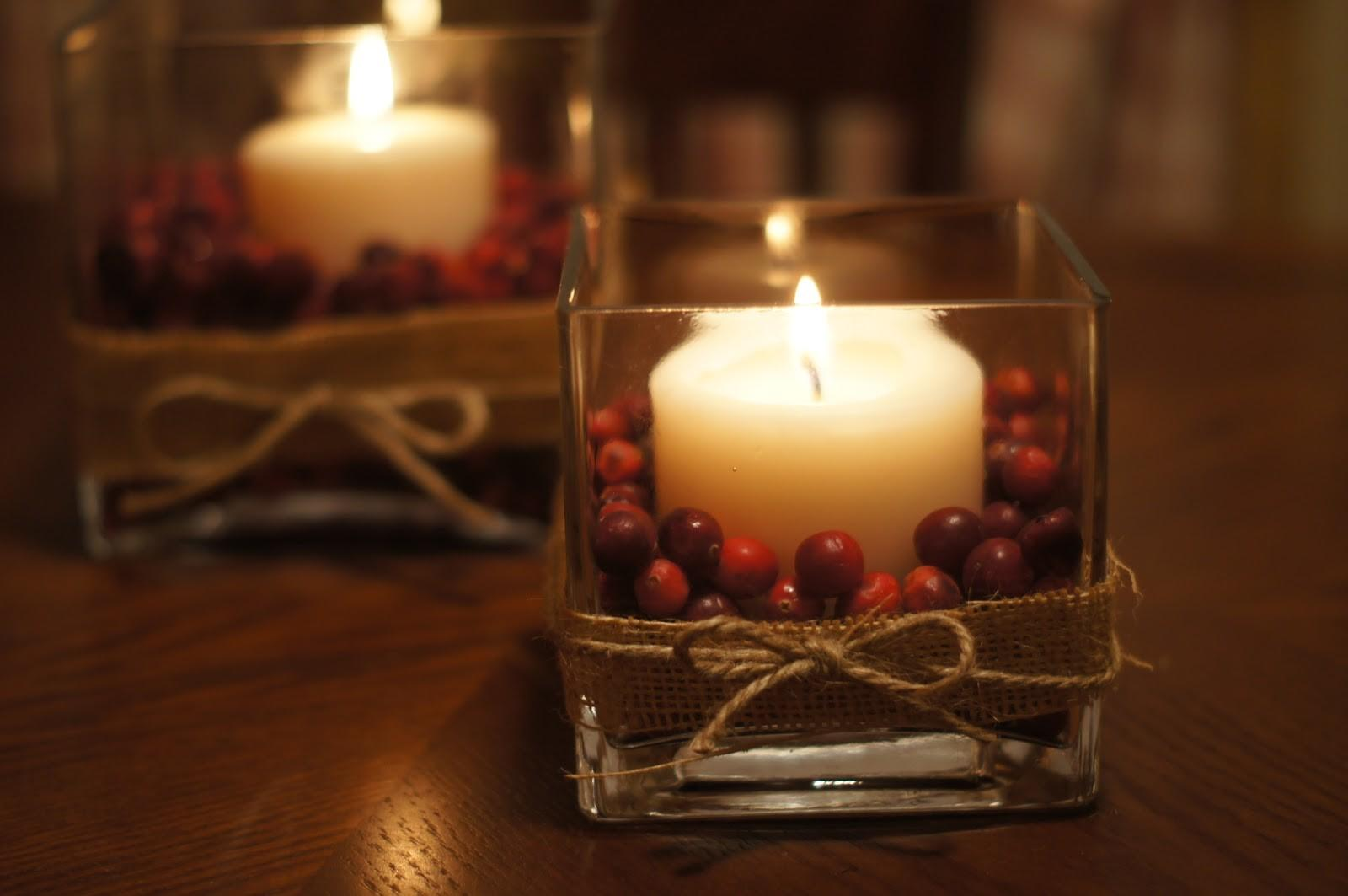 Thanksgiving Christmas Cranberry Centerpieces