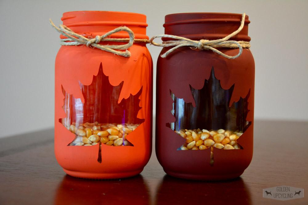 Thanksgiving Decor Fall Mason Jar Centerpiece