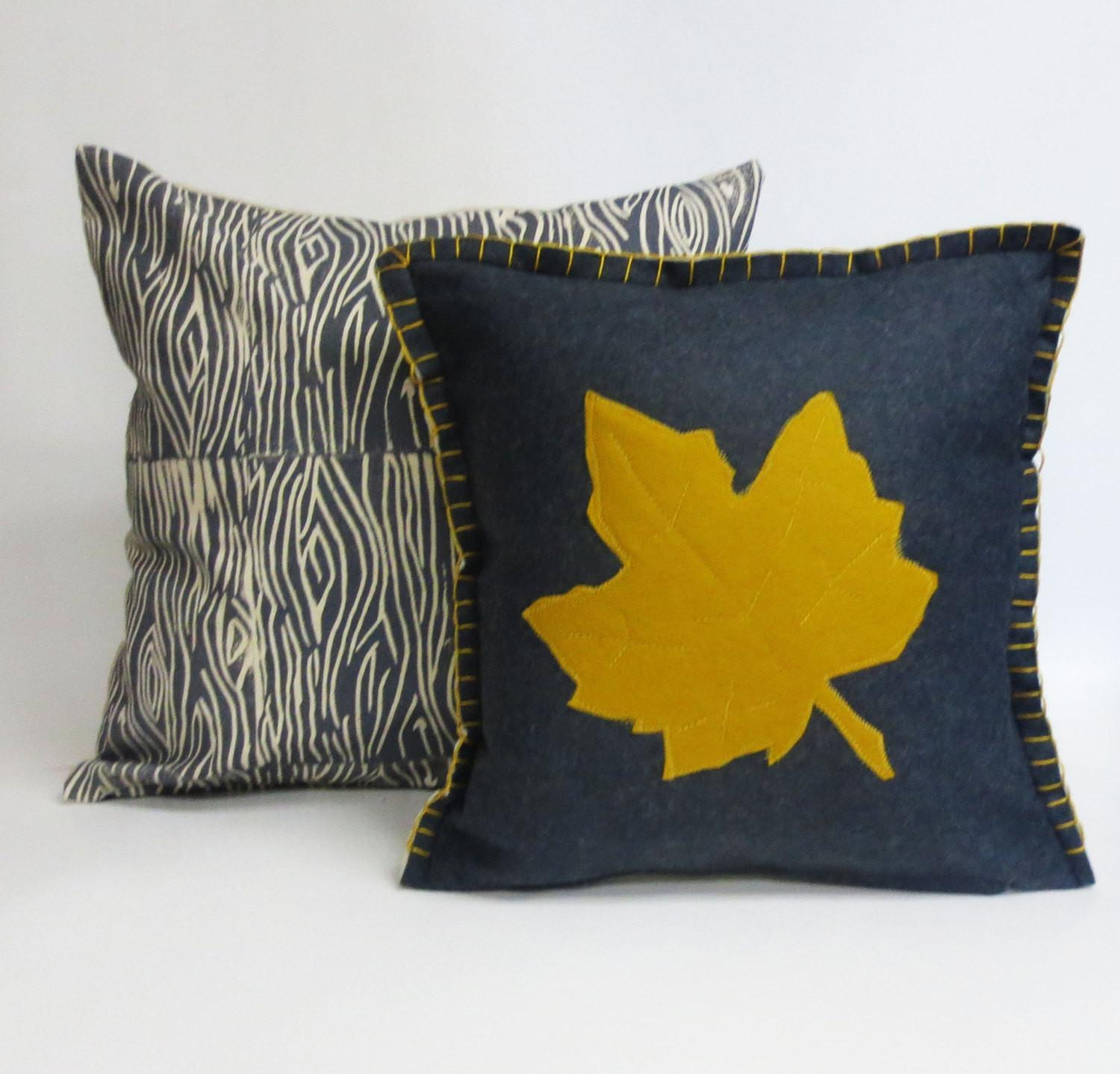 Thanksgiving Decor Felt Fall Pillow Leaf Applique