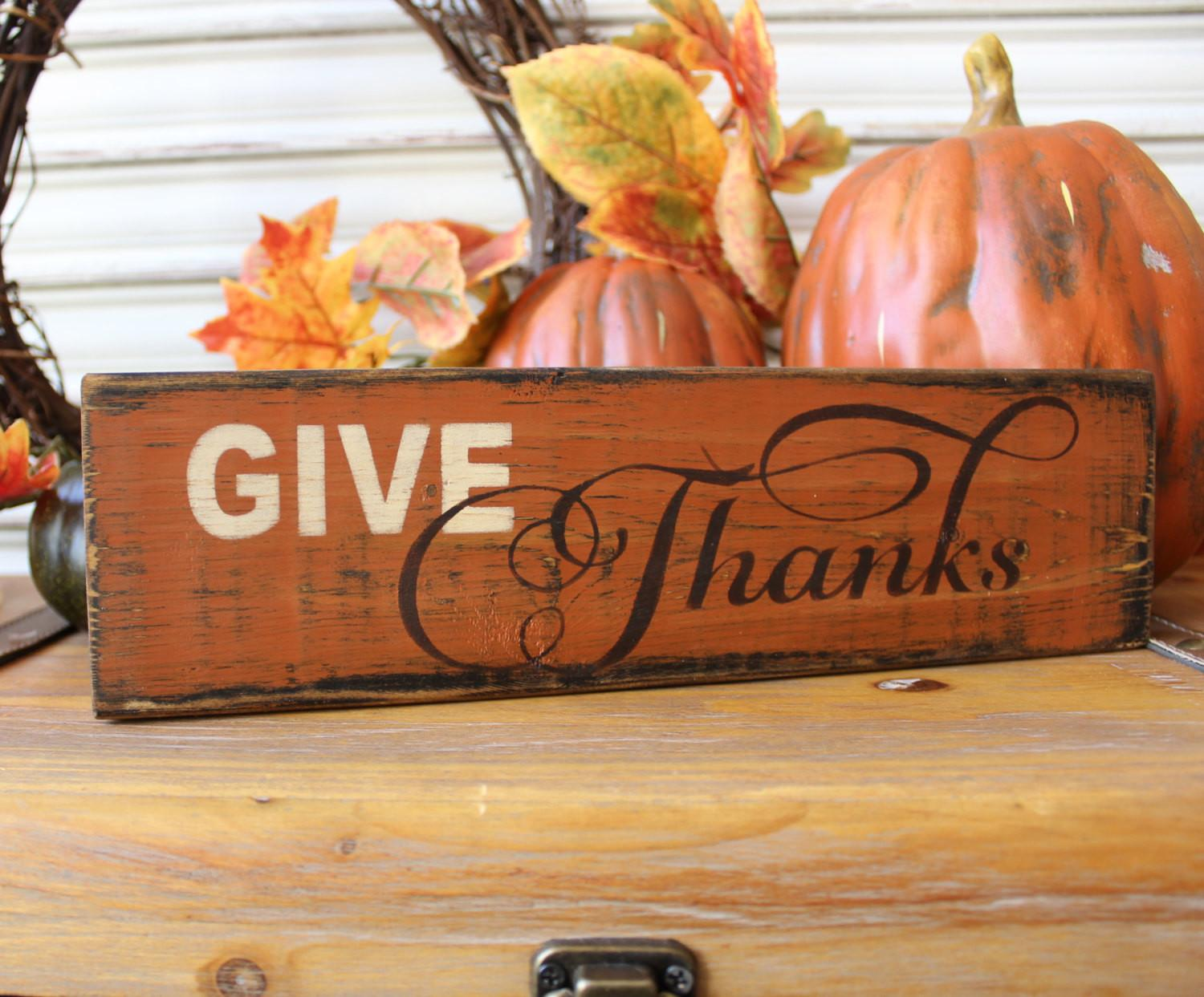 Thanksgiving Decor Give Thanks Wood Sign Fall