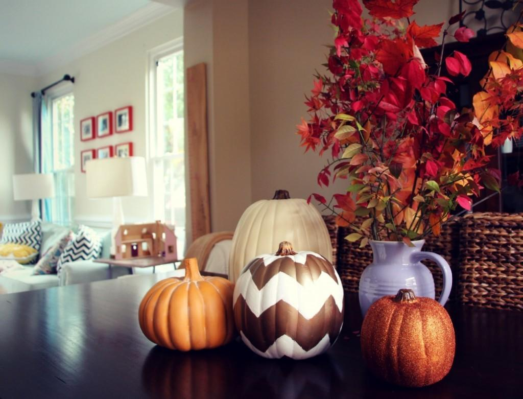 Thanksgiving Diy Decor Chevron Pumpkins Glamourized Kid