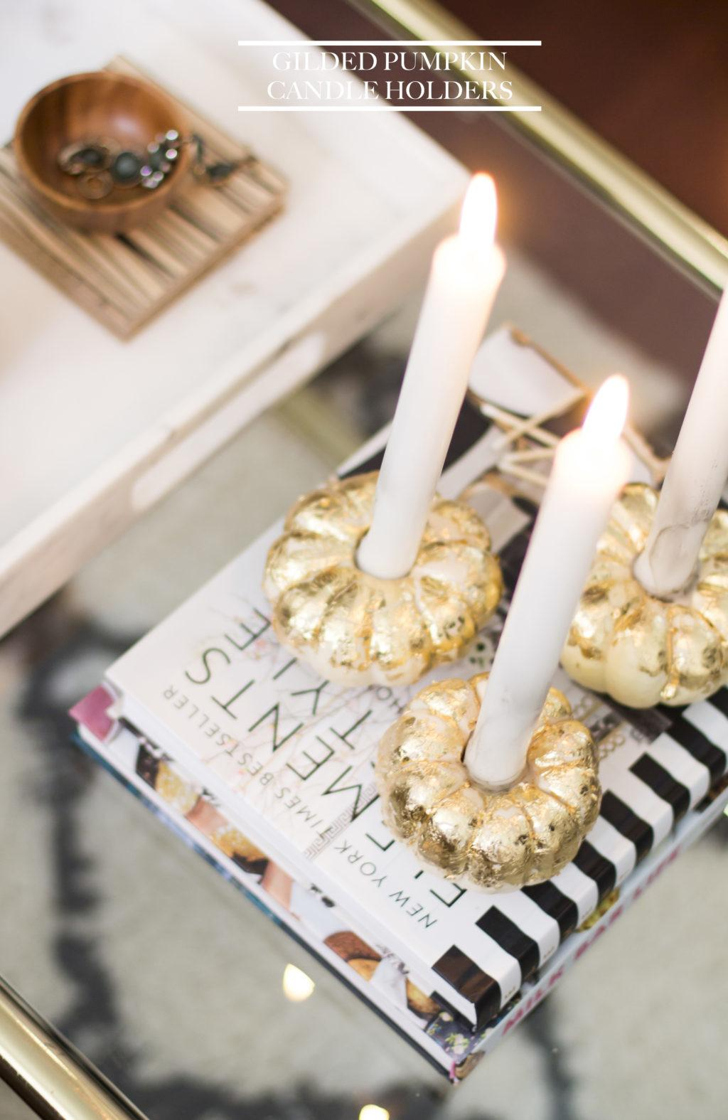 Thanksgiving Diy Idea Gilded Pumpkin Candle Holders