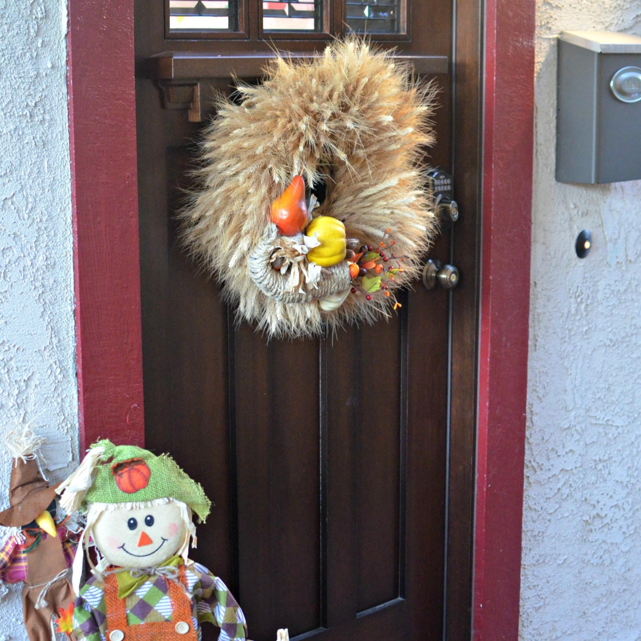 Thanksgiving Door Decorations Diy Cornucopia Wreath