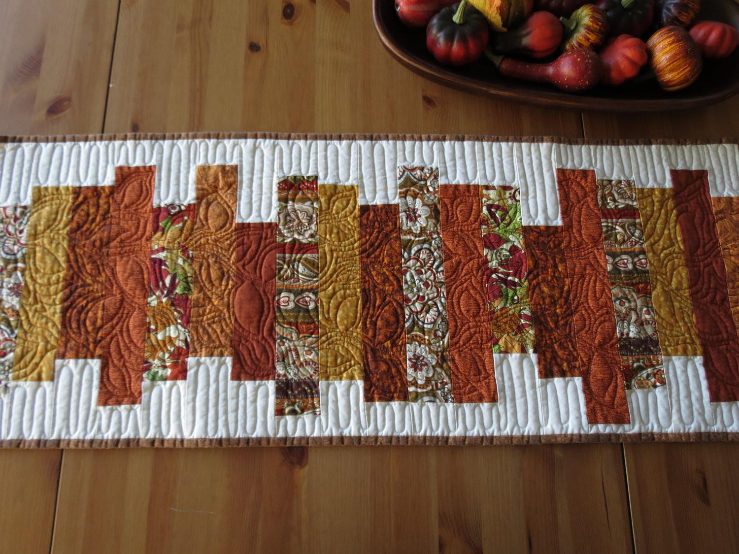 Thanksgiving Fall Quilted Table Runner Autumn Burnt Orange