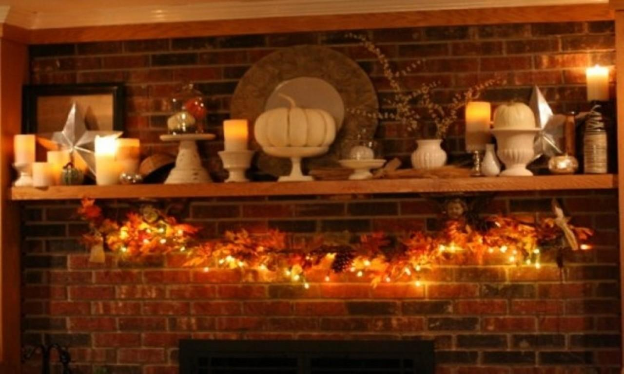 Thanksgiving Fireplace Decorations Rustic Mantel