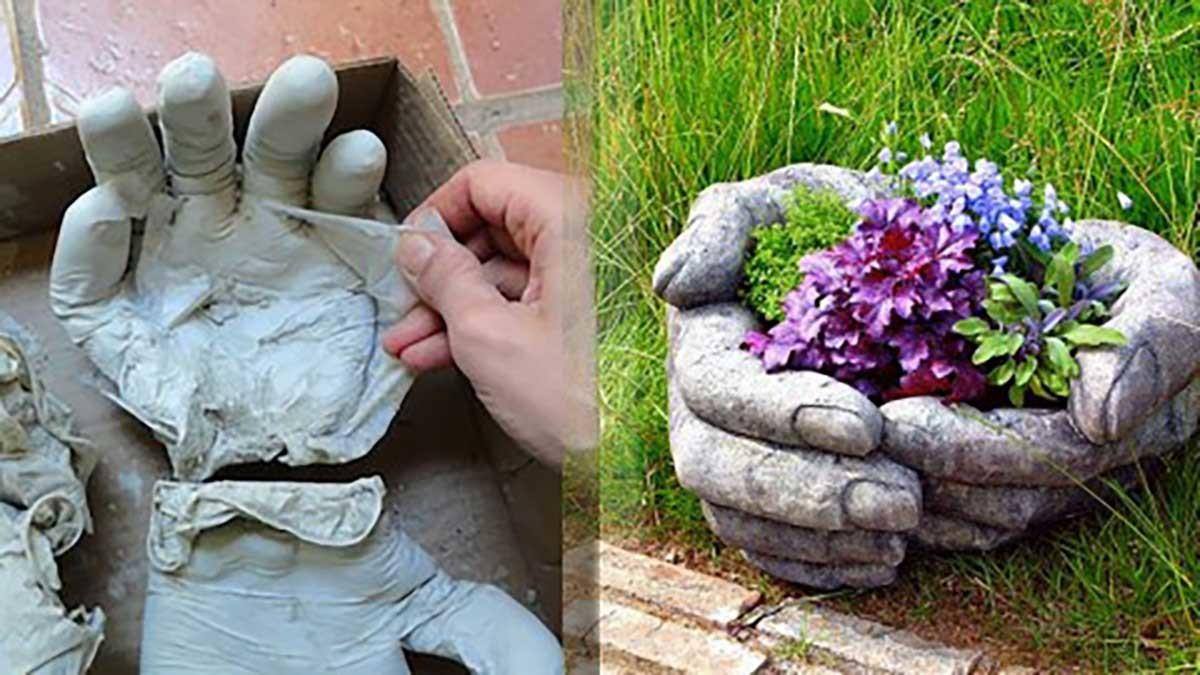 These Diy Concrete Hand Planters Easier Make Than