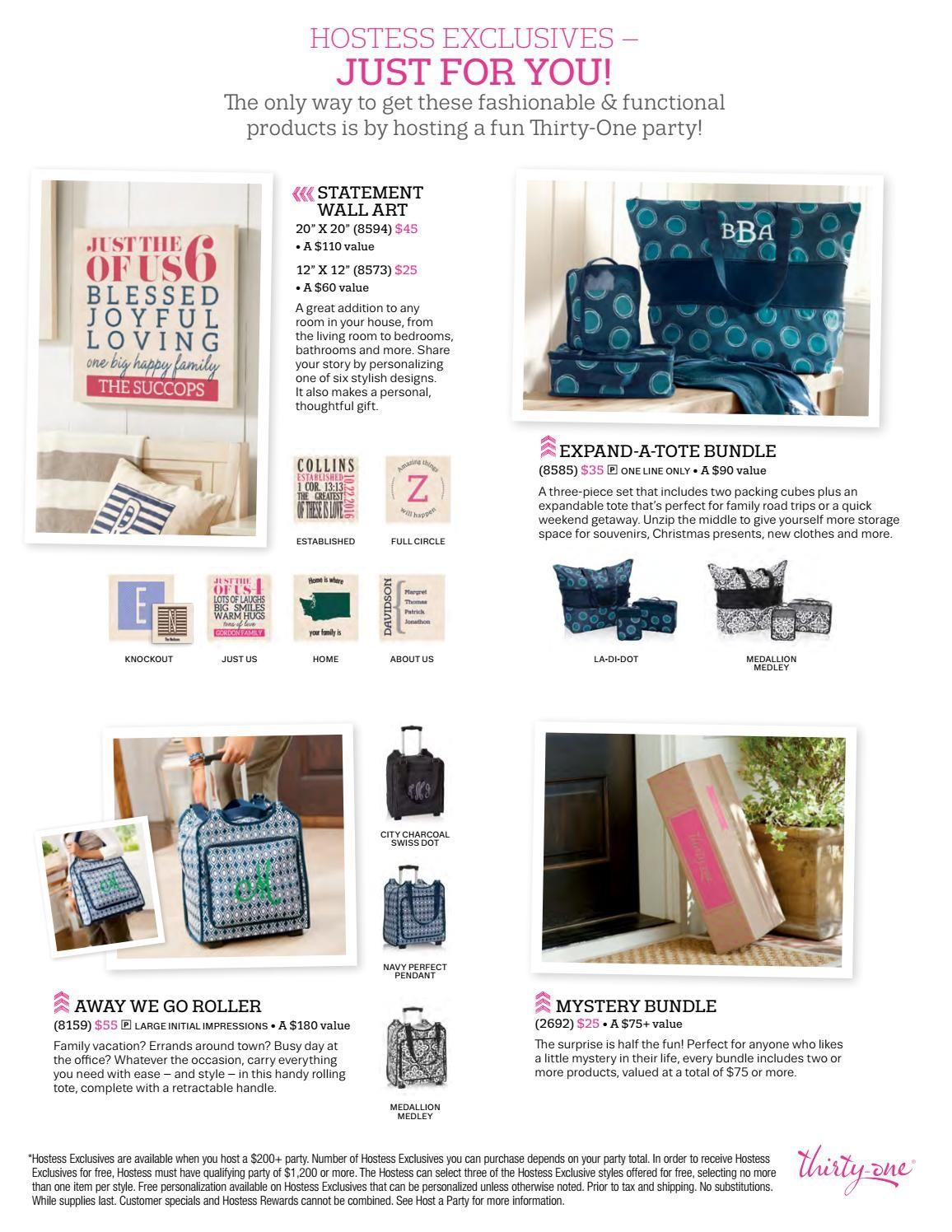 Thirty One Hostess Exclusives Rewards Fall Winter 2016