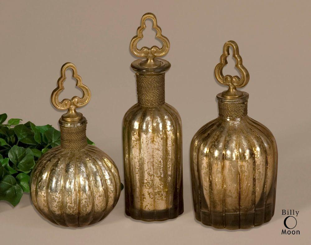 Three Antiqued Aged Silver Glass Decorative Perfume