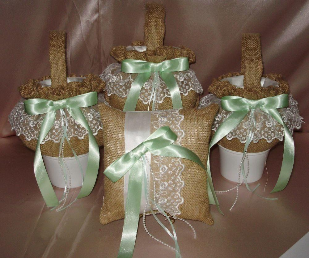 Three Burlap Flower Girl Baskets Ring Pillow Your