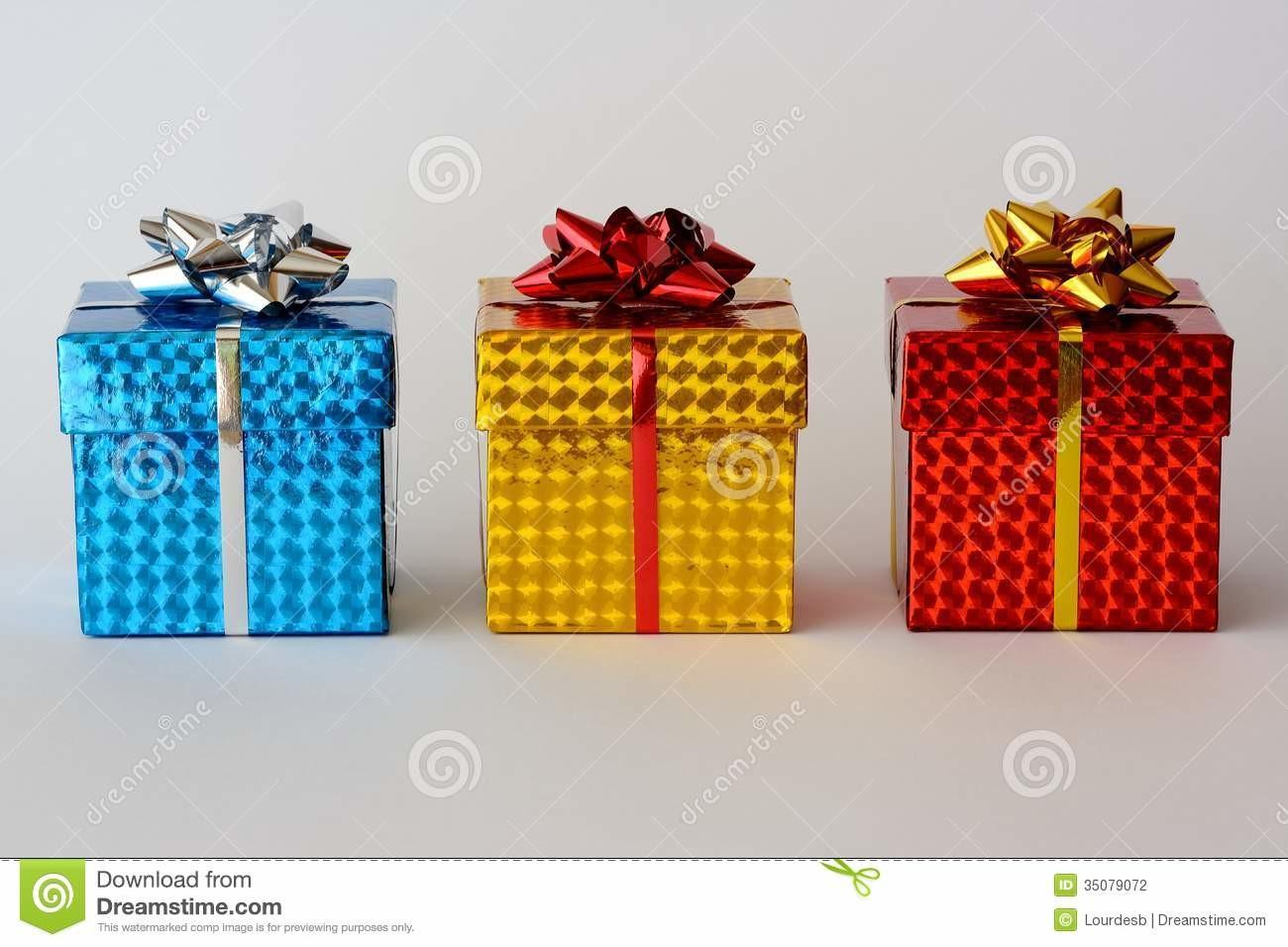 Three Christmas Gifts Stock Photography