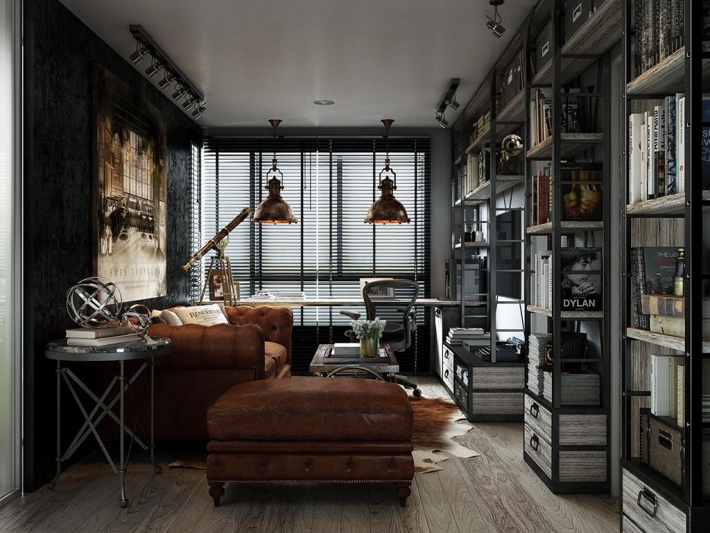 Three Dark Colored Loft Apartments Exposed Brick Walls