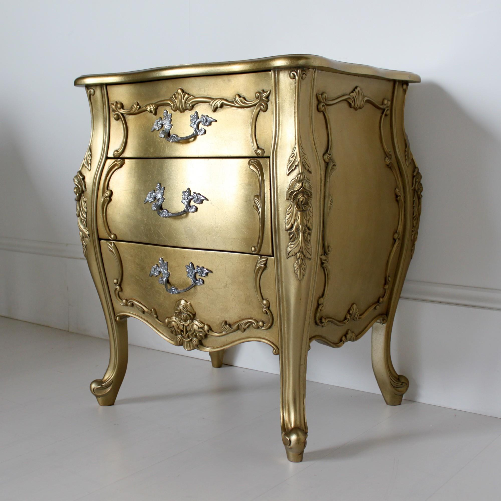 Three Drawer French Bedside Gold