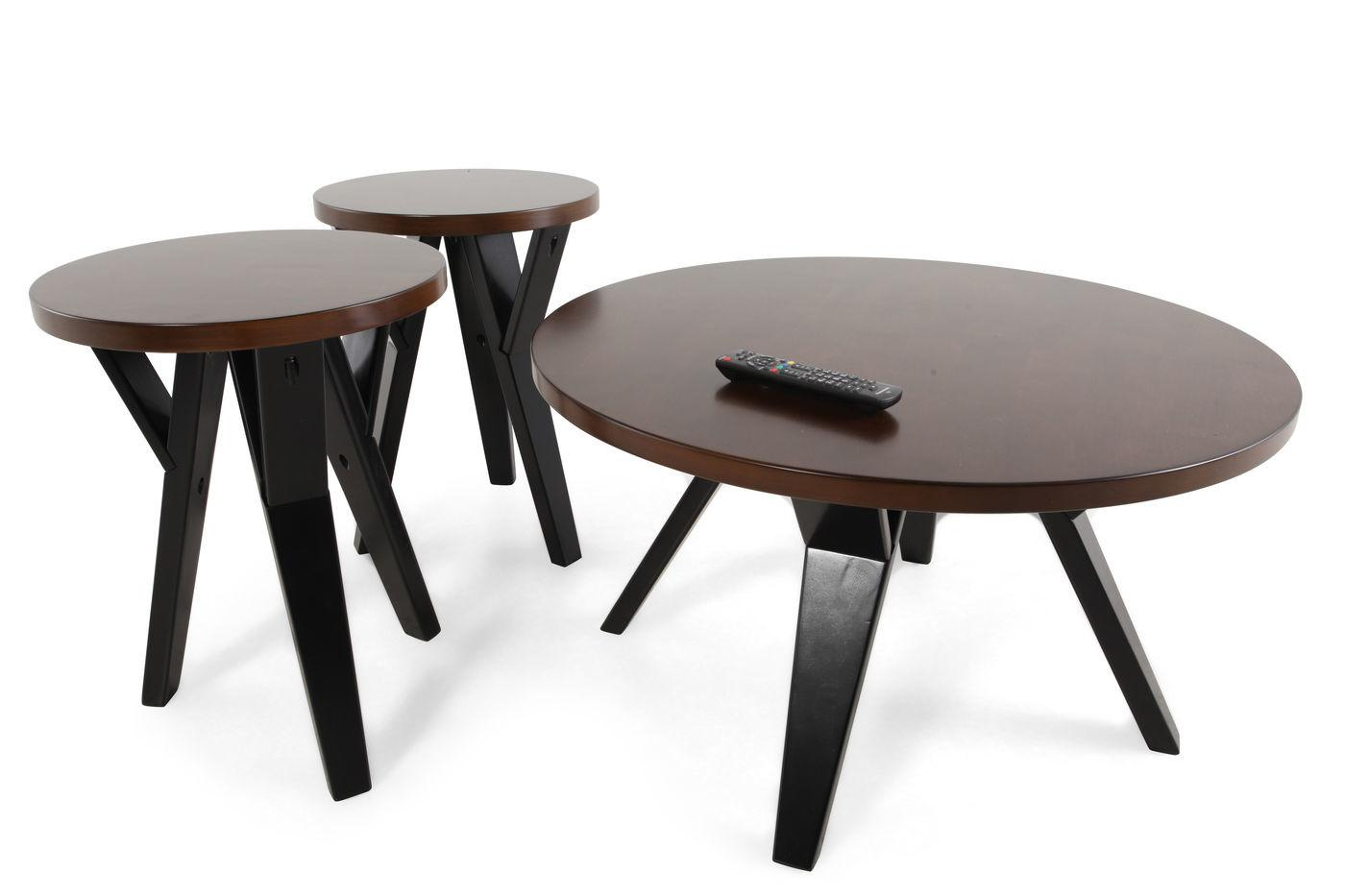 Three Piece Round Contemporary Table Set Brown Mathis
