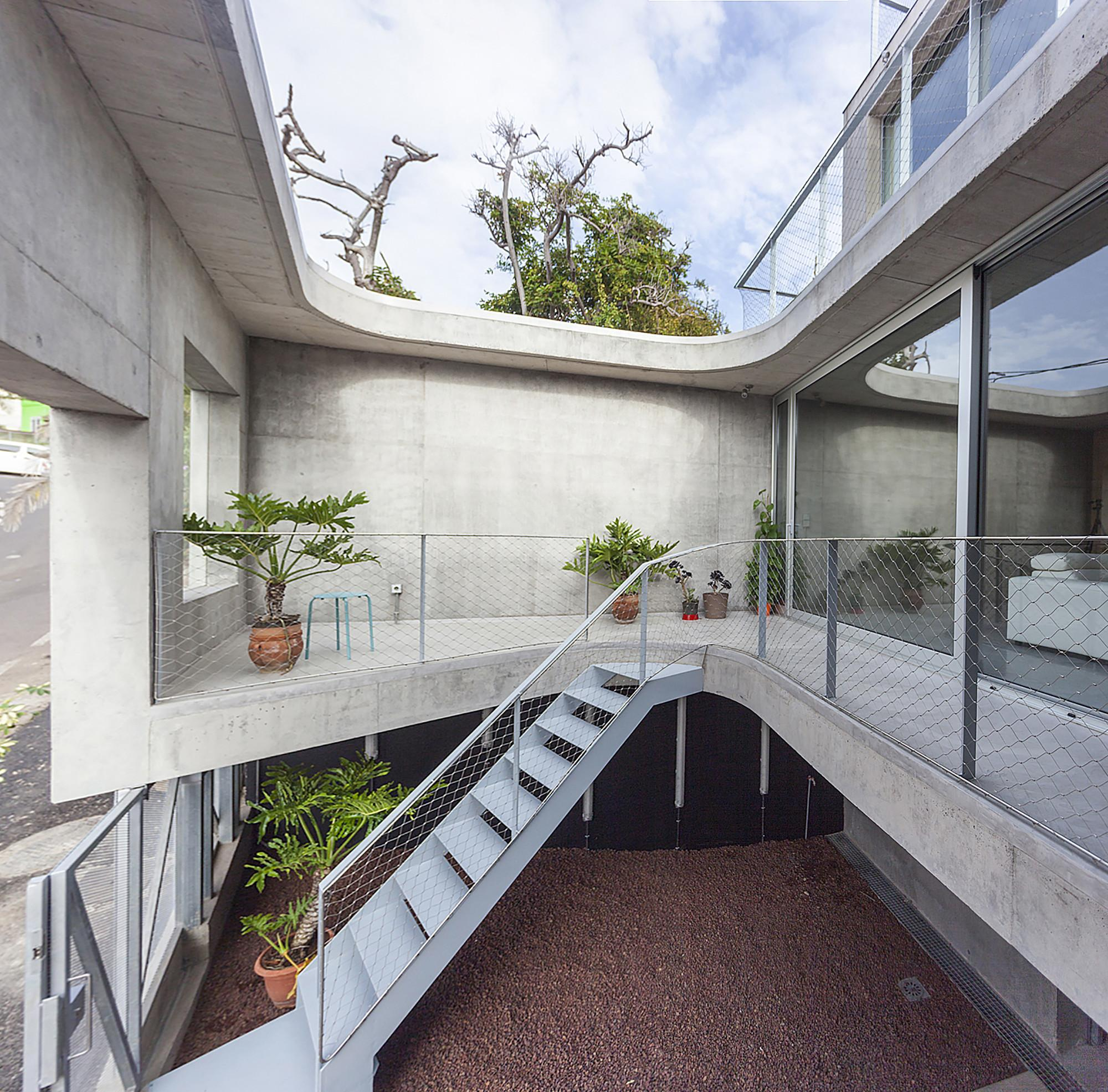 Three Story Concrete House Sloping Lot Idea Home