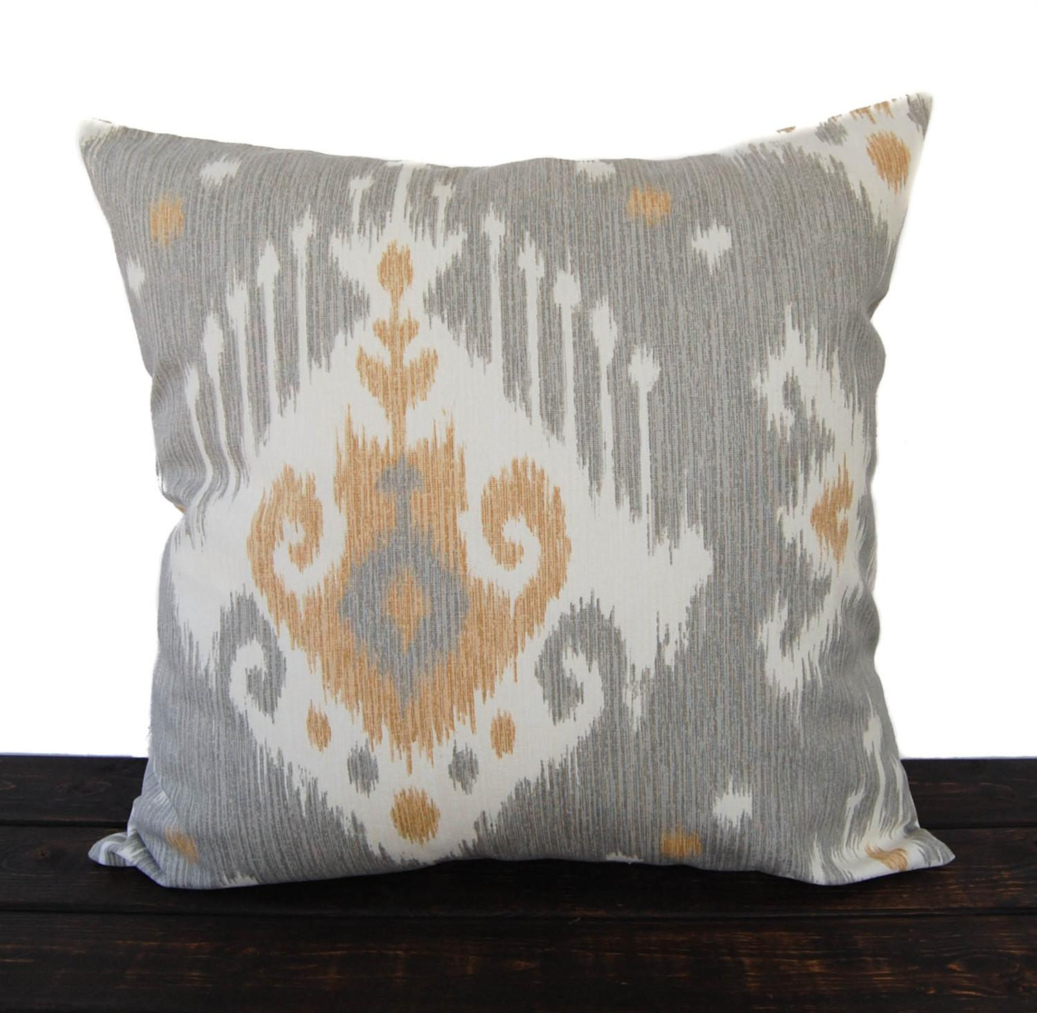 Throw Piillow Cover Gray Cushion Ikat Pillow Case Tan