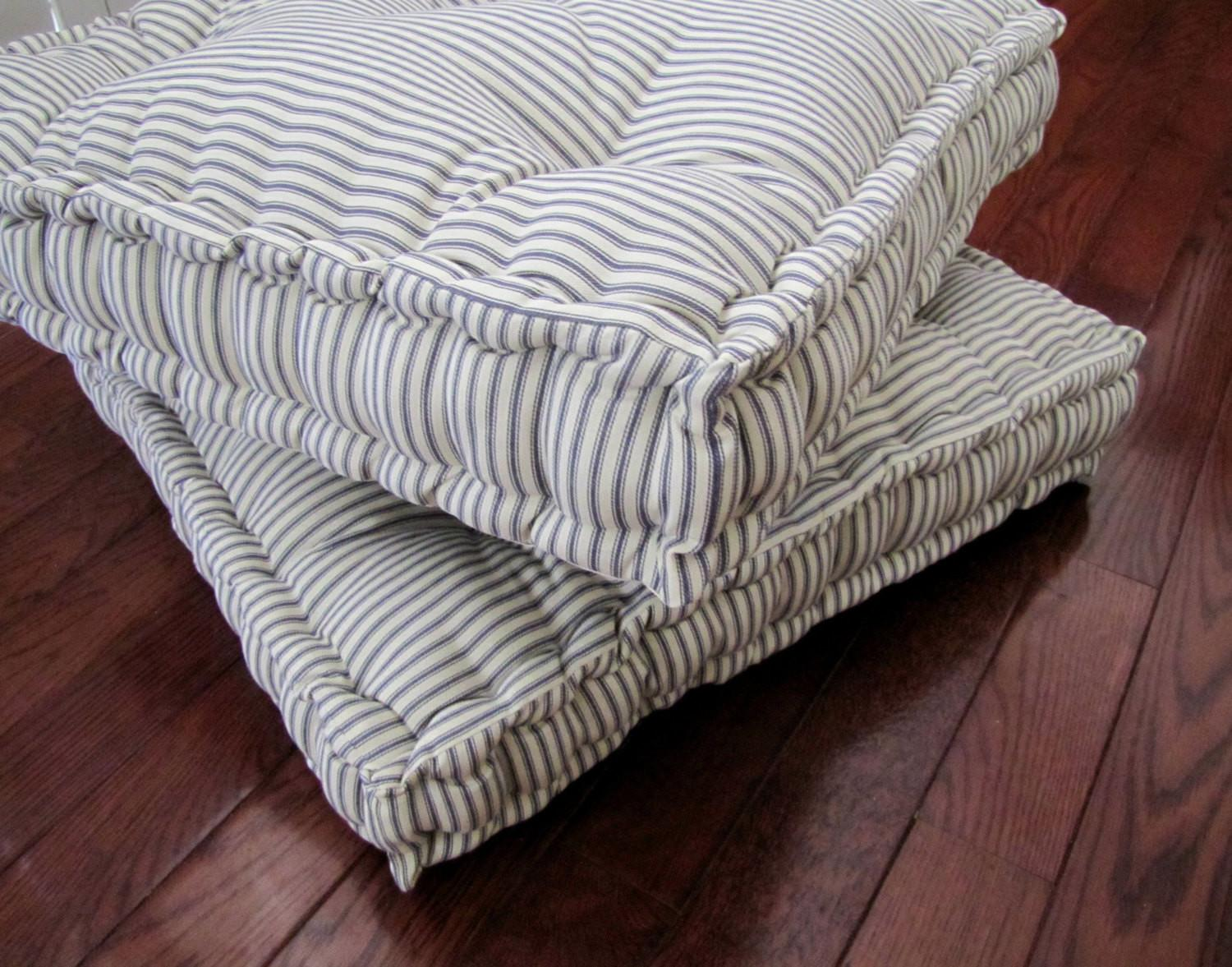 Ticking Floor Pillow Tufted Cushion French