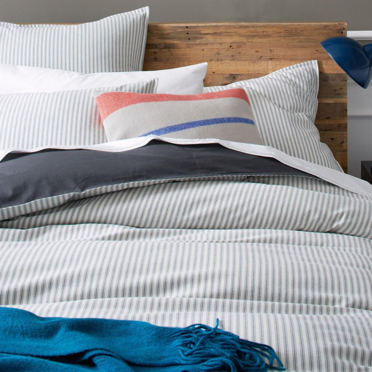 Ticking Stripe Duvet Cover Pillowcases Graphite
