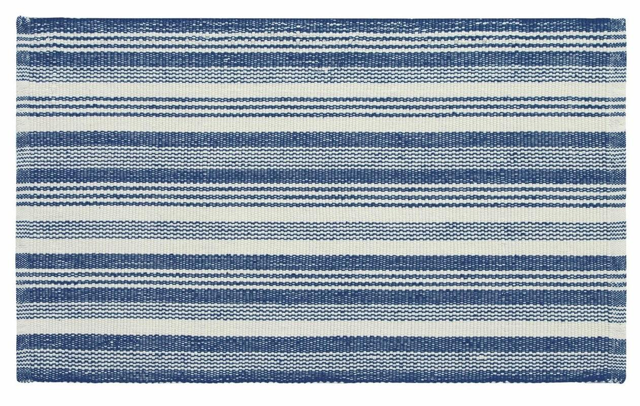 Ticking Stripe Hand Woven Blue White Indoor Outdoor Area