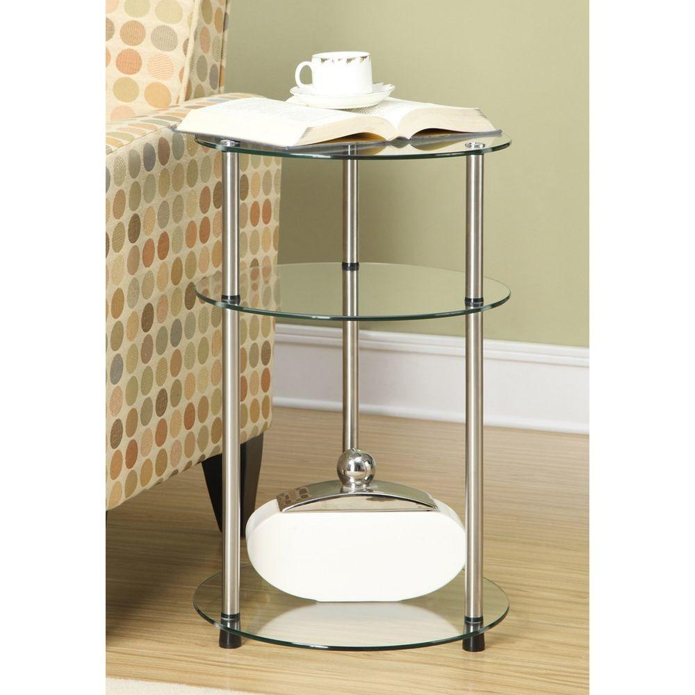 Tier Accent Table Glass Side Modern Round Bathroom