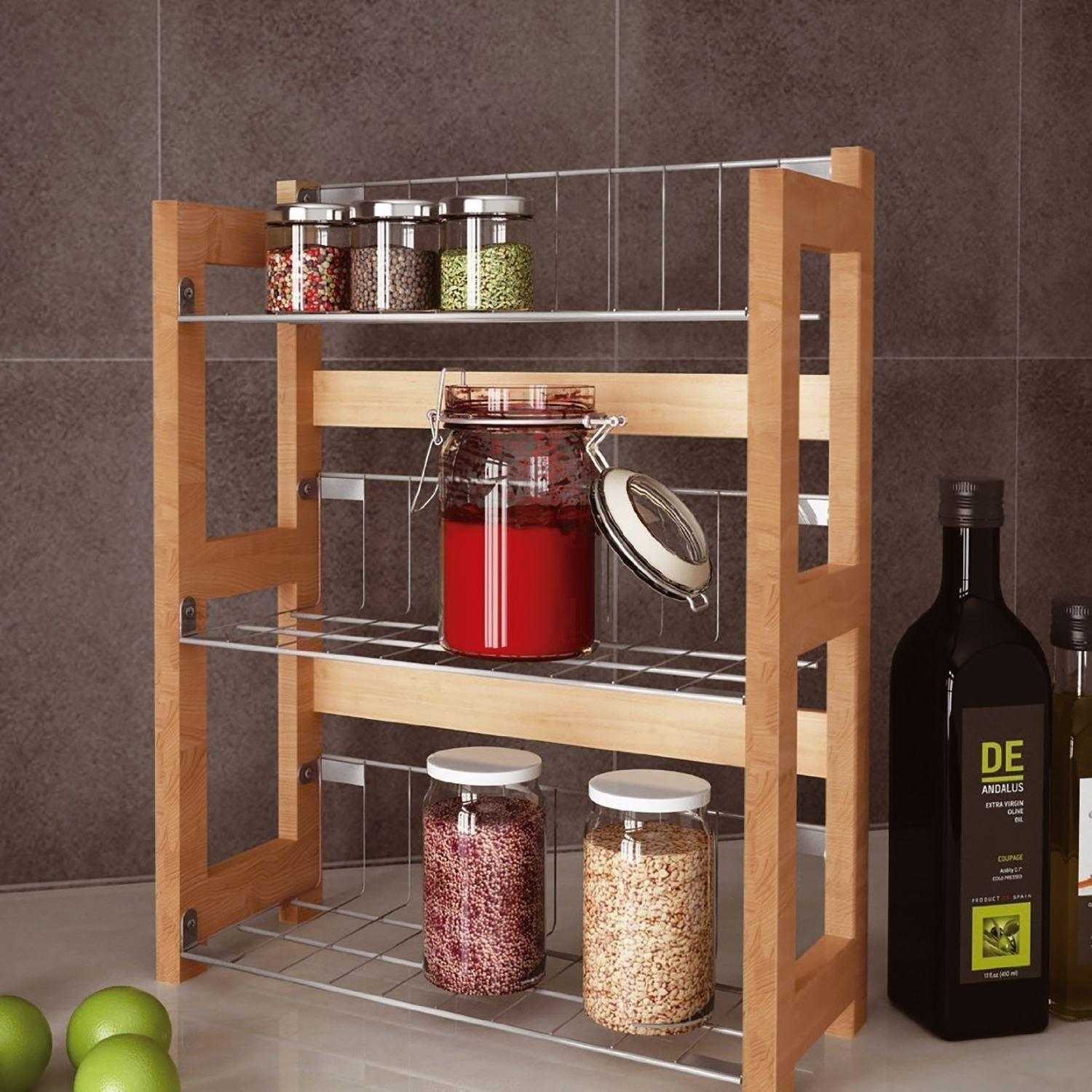 Tier Bamboo Wall Mounted Standing Spice Jar Rack Kitchen