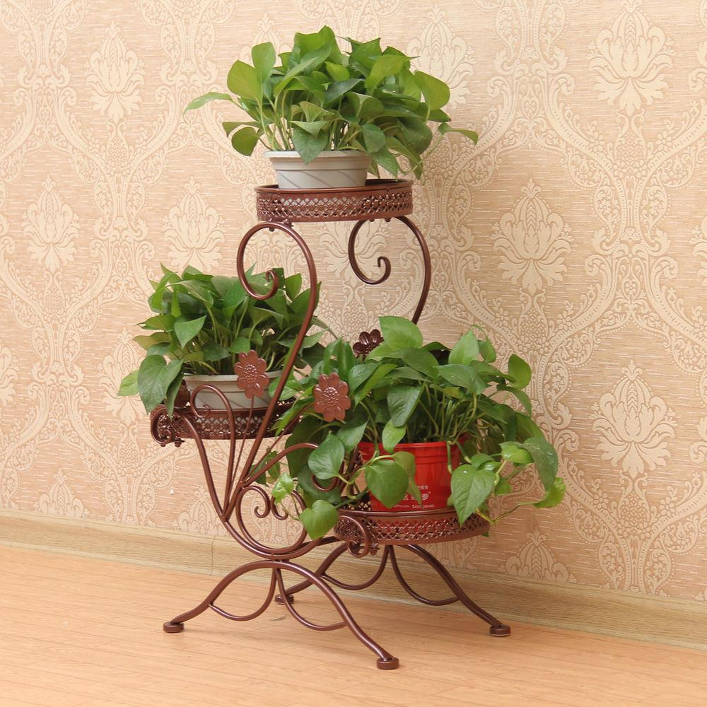 Tier Bronze Wrought Iron Floor Standing Pot Plant Stand