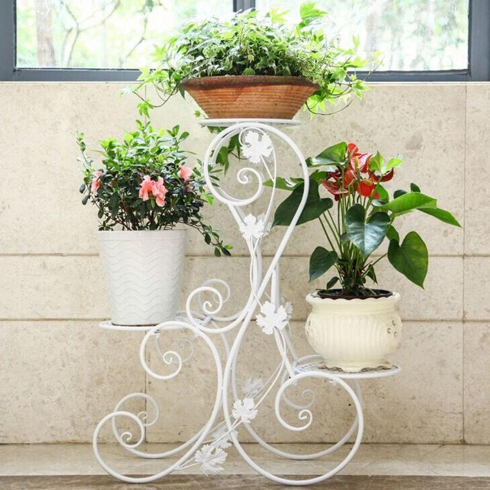 Tier Design White Floor Standing Pot Plant Stand