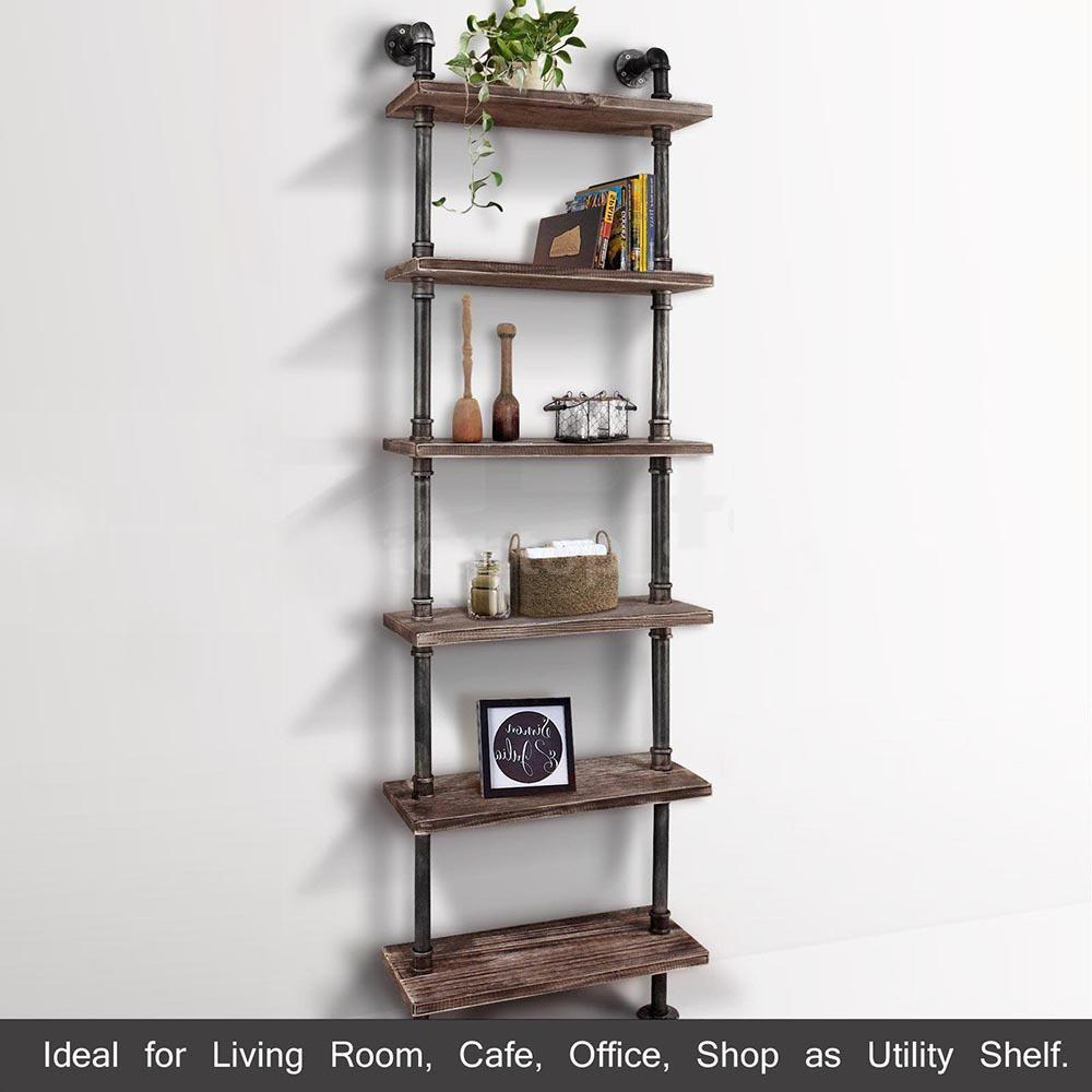 Tier Industrial Ladder Wall Shelves Diy Iron Pipe