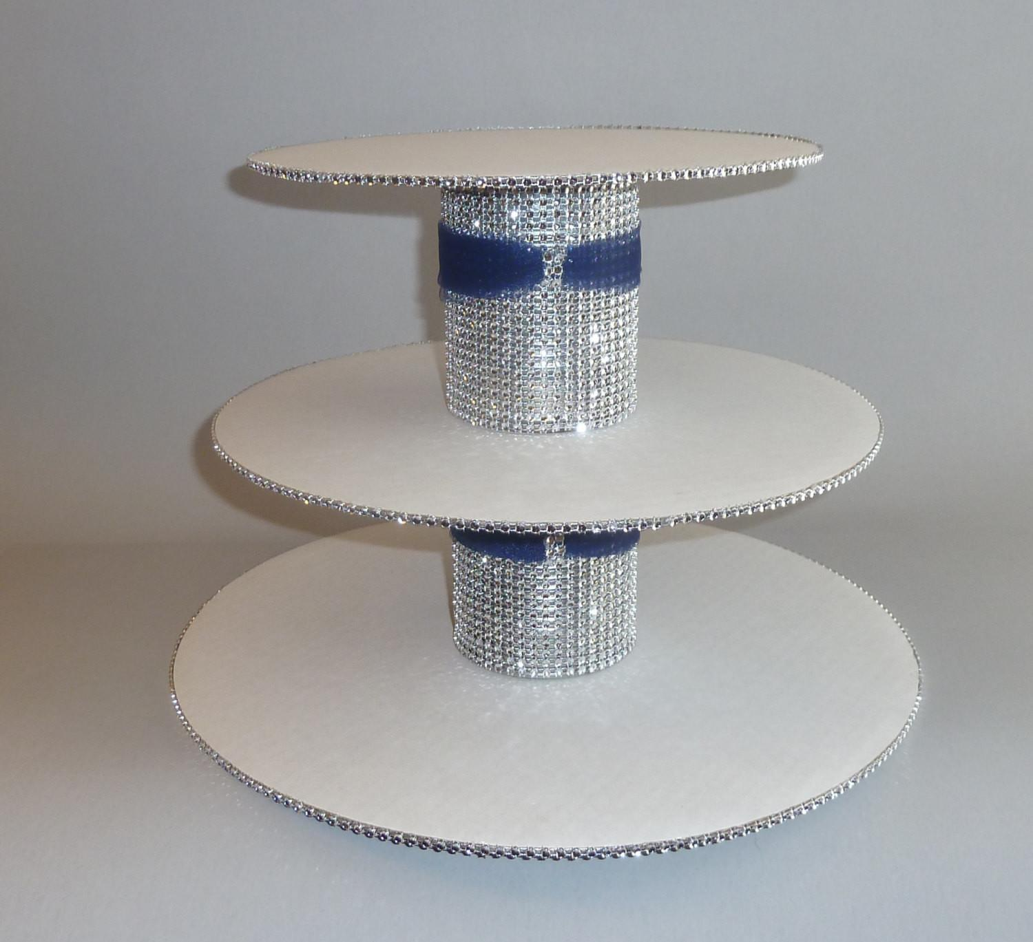 Tier Navy Blue Tulle Silver Bling Faux Rhinestone White