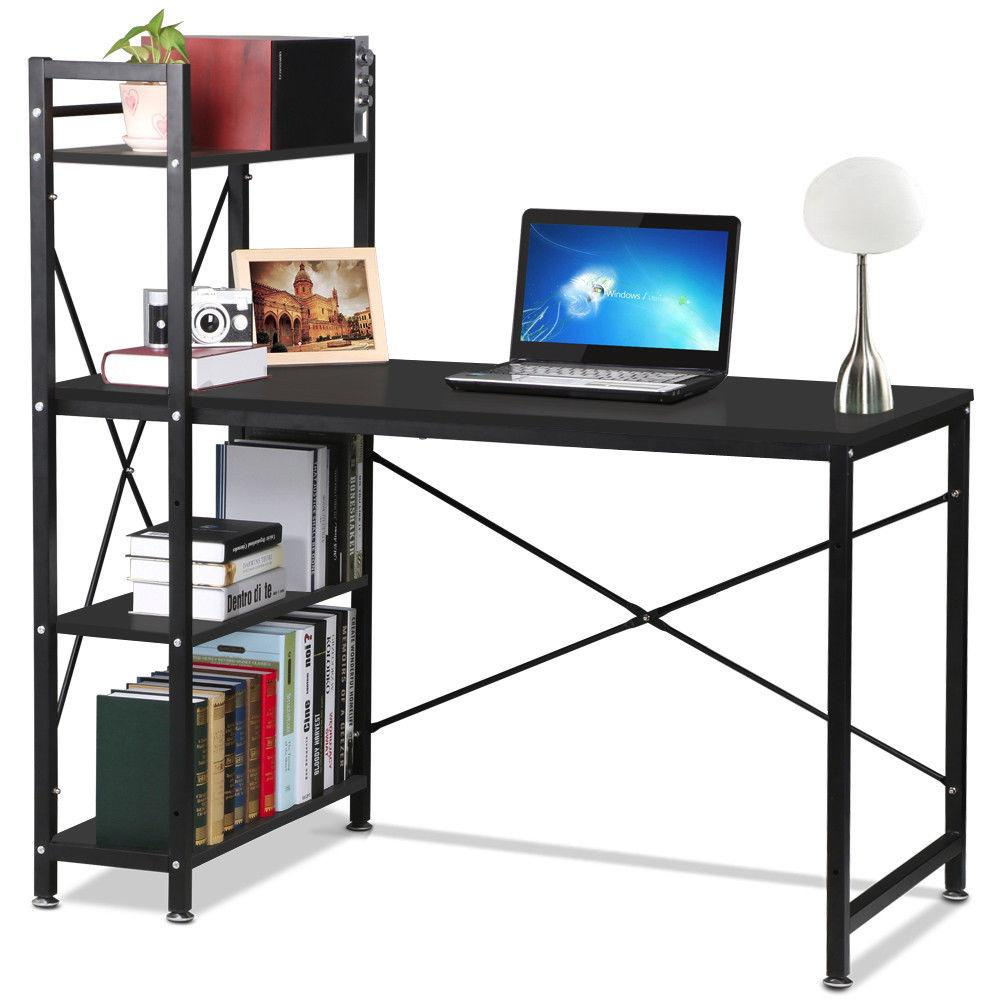 Tier Shelves Corner Computer Desk Wooden Workstation