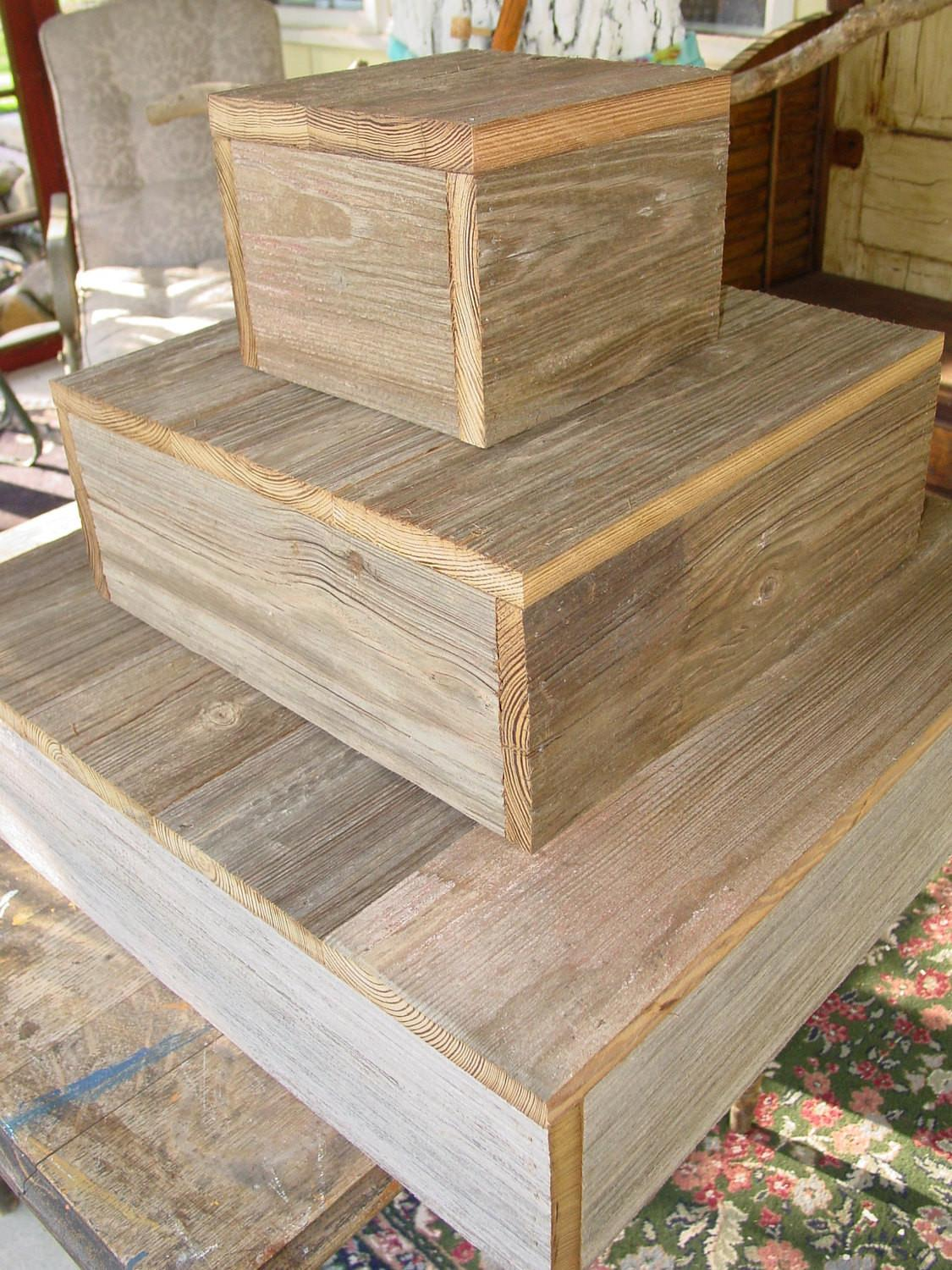 Tier Wood Cake Stand Rustic Wedding Cupcake Box