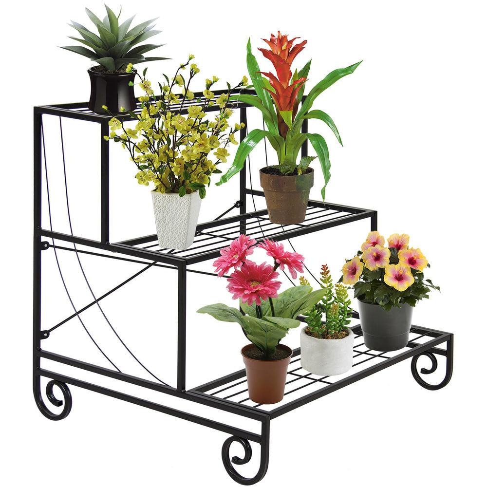 Tiers Metal Shelves Indoor Plant Stand Display Flower