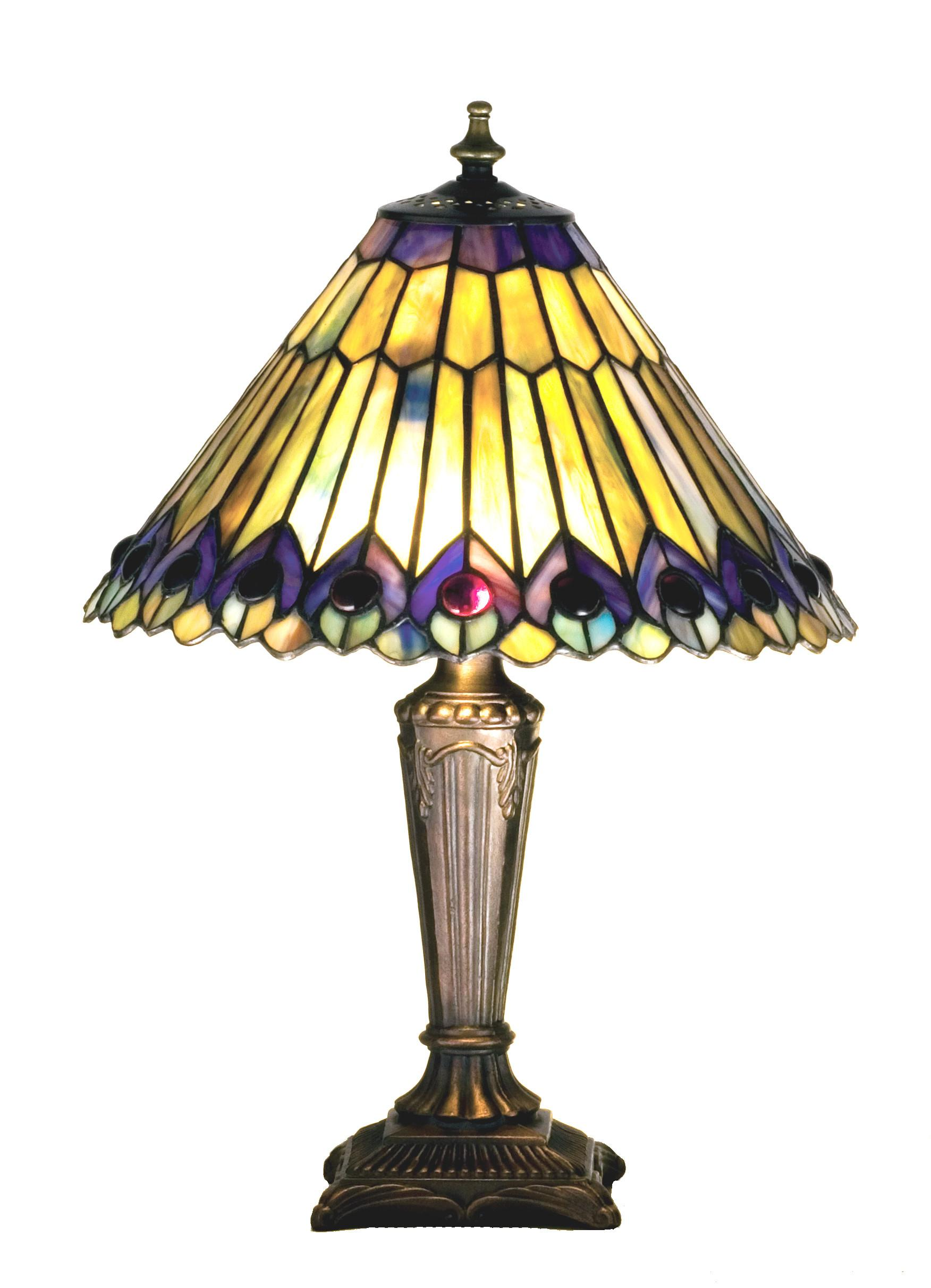 Tiffany Jeweled Peacock Accent Lamp Brite Lighting