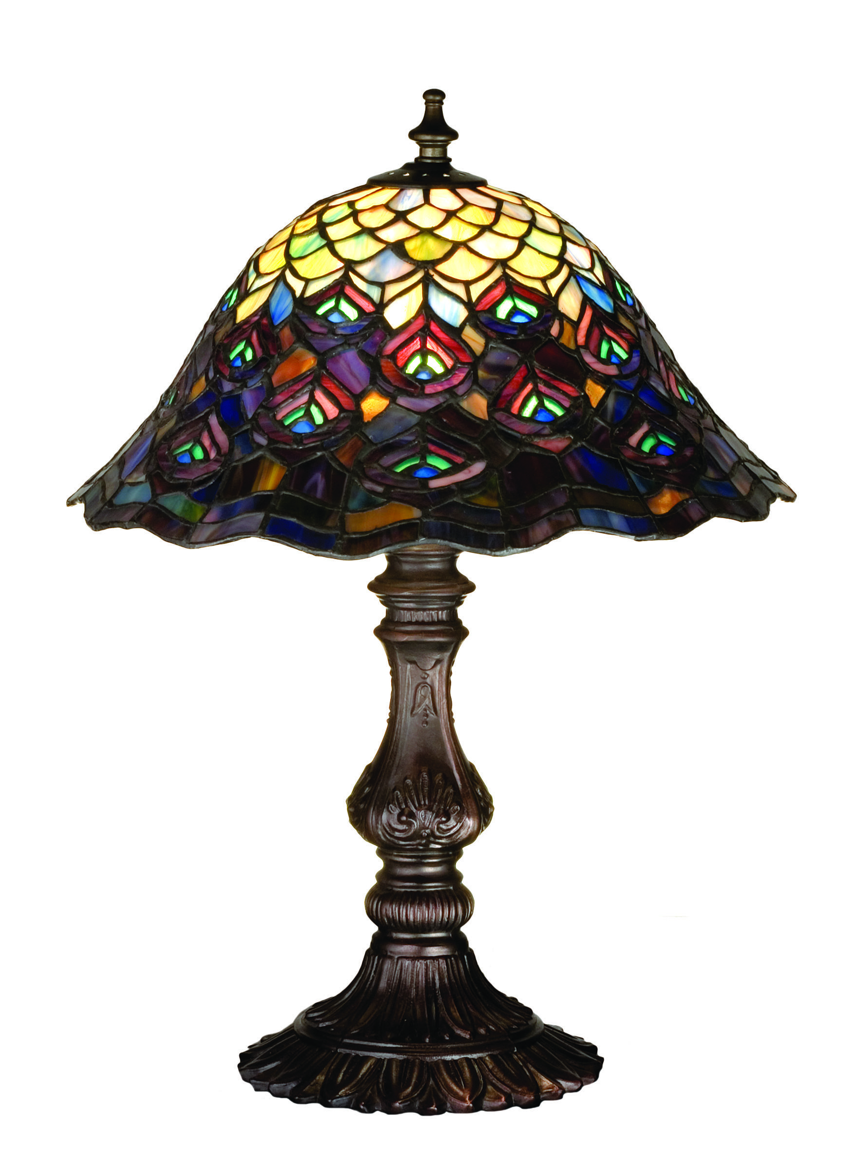 Tiffany Peacock Feather Accent Lamp Brite