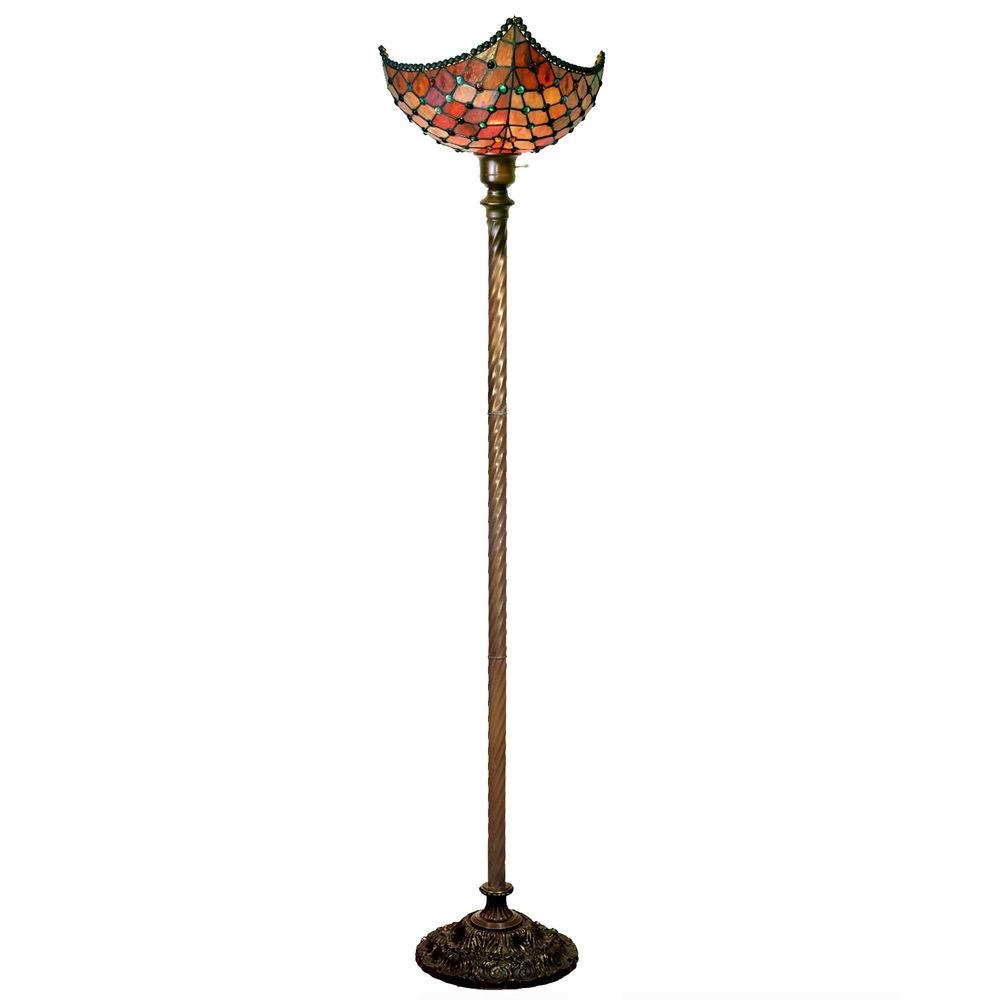 Tiffany Style Beaded Torchiere Floor Lamp Living Room