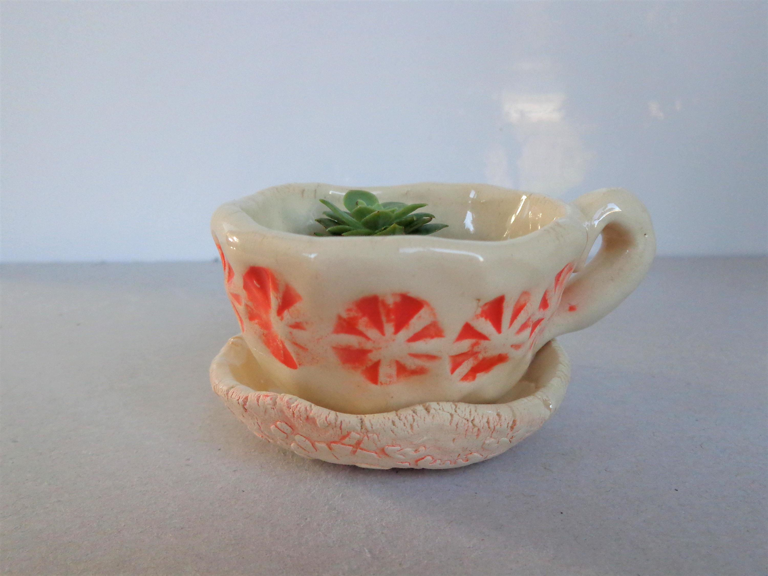 Tiny Ceramic Orange Dots Cup Planter Pot Saucer Handmade