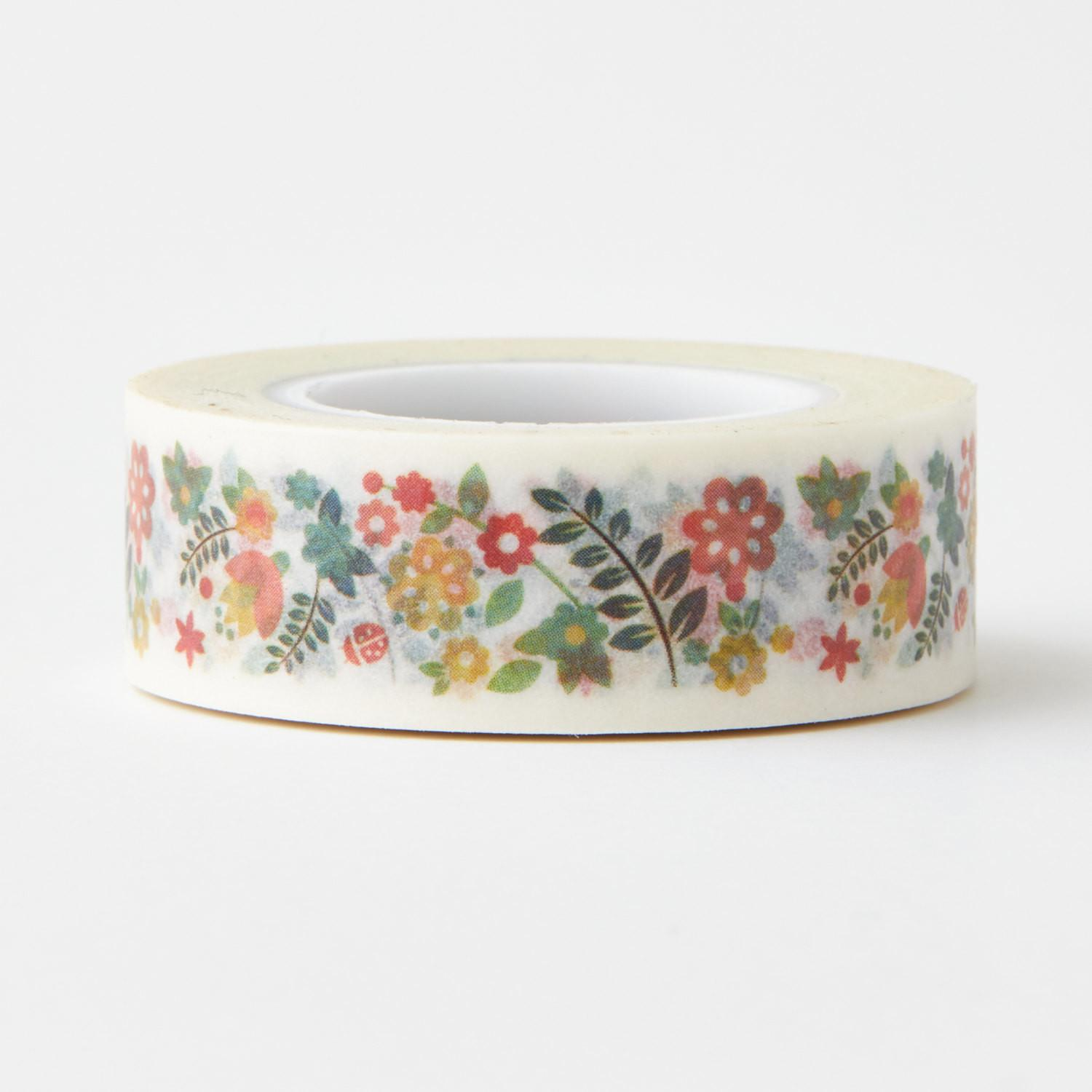 Tiny Spring Floral Washi Tape Red Orange Craft