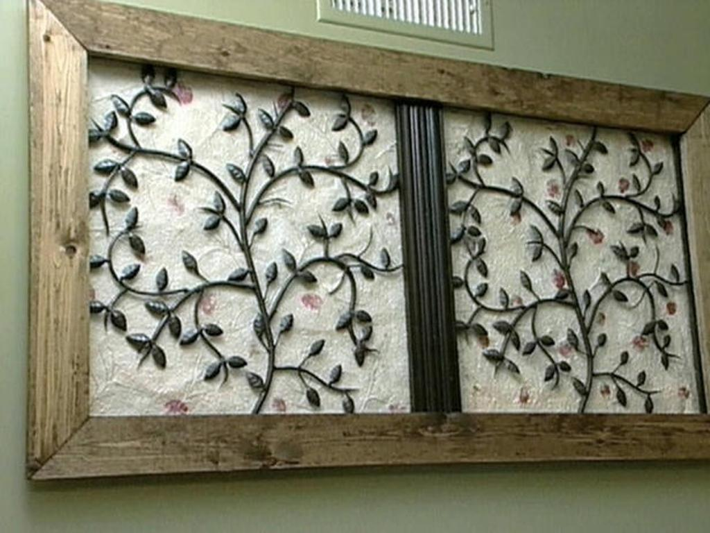 Tips Ideas Wood Frame Wrought Iron Wall Art