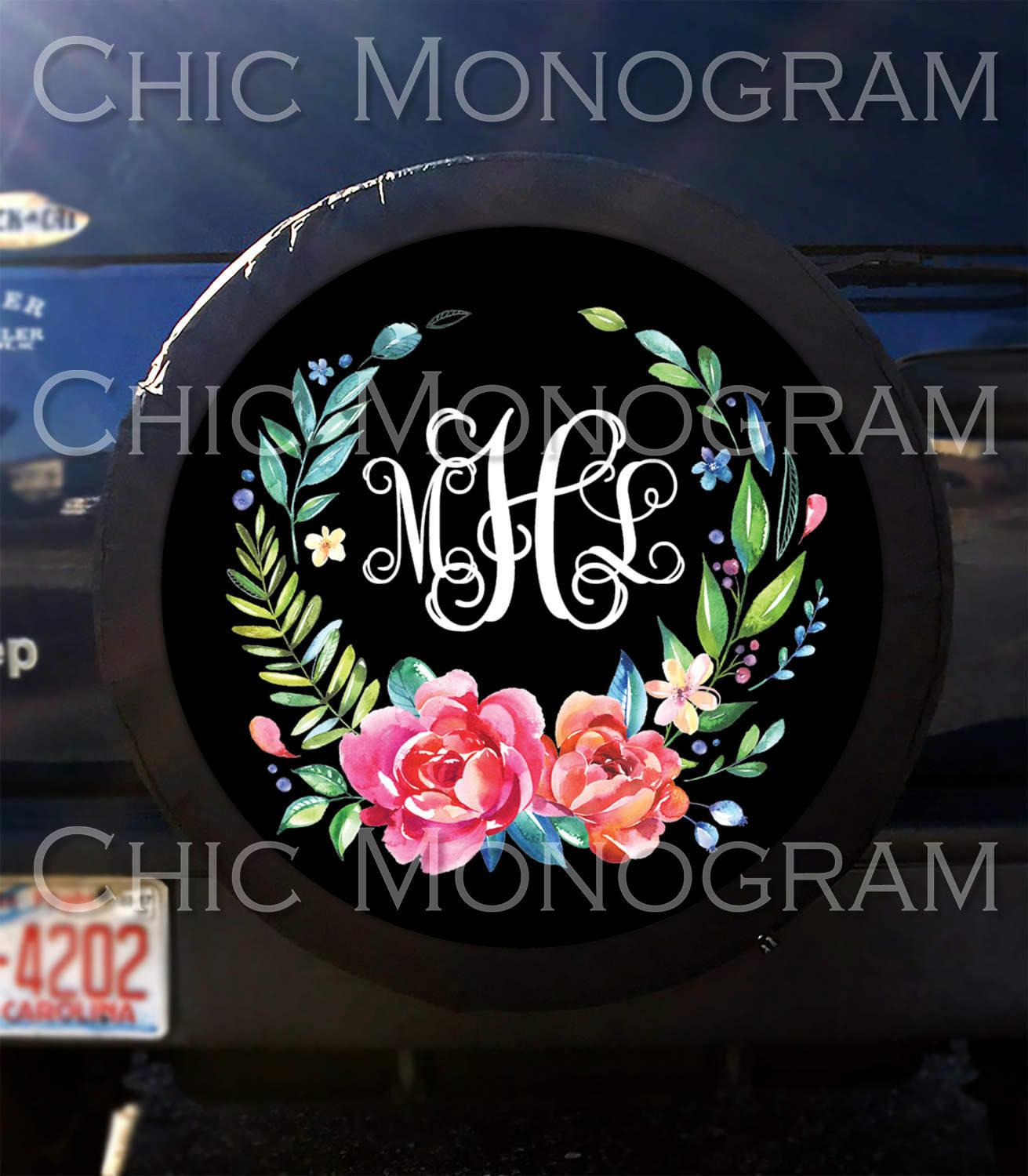 Tire Cover Classy Black Floral Spare Custom