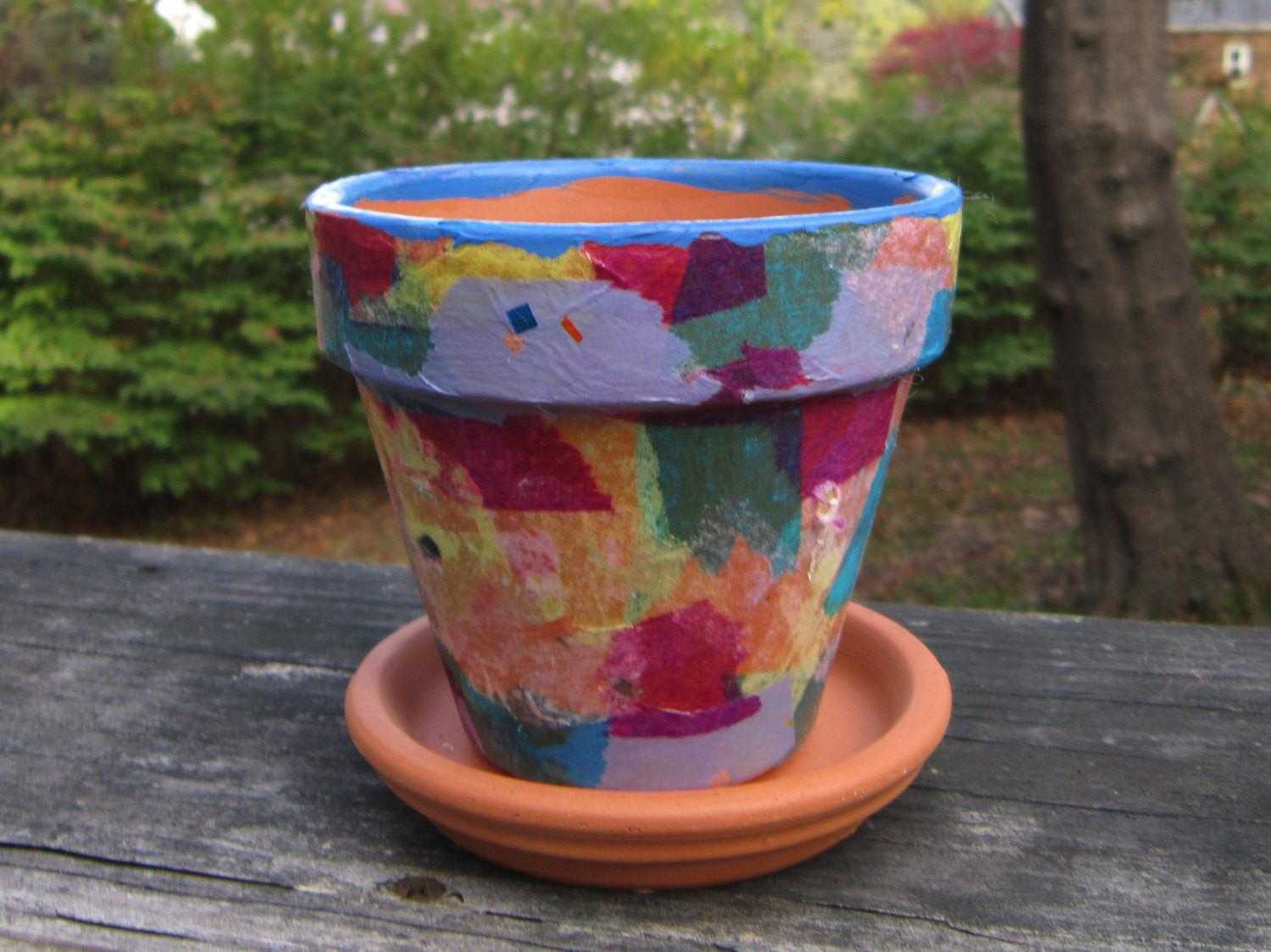 Tissue Paper Decoupage Flower Pot