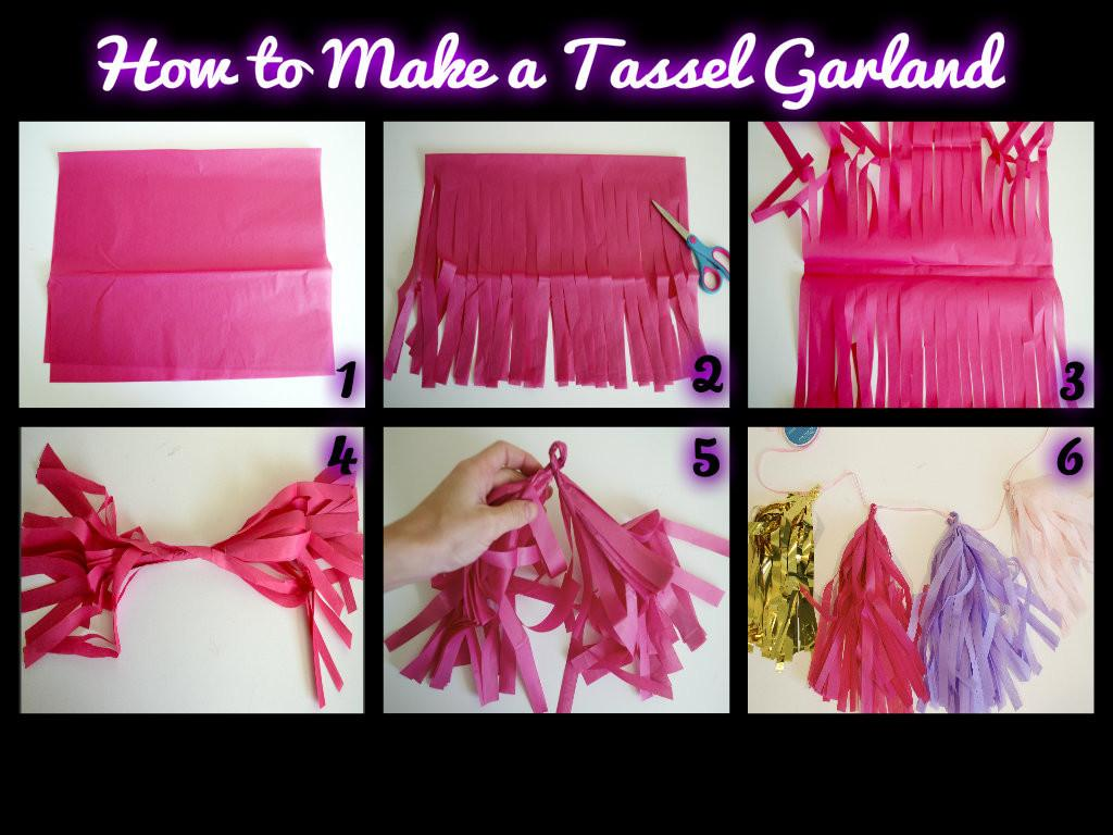 Tissue Paper Garland Step Instructions