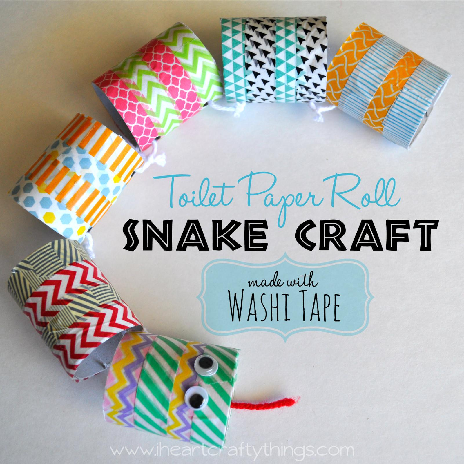 Toilet Paper Roll Snake Craft Made Washi Tape