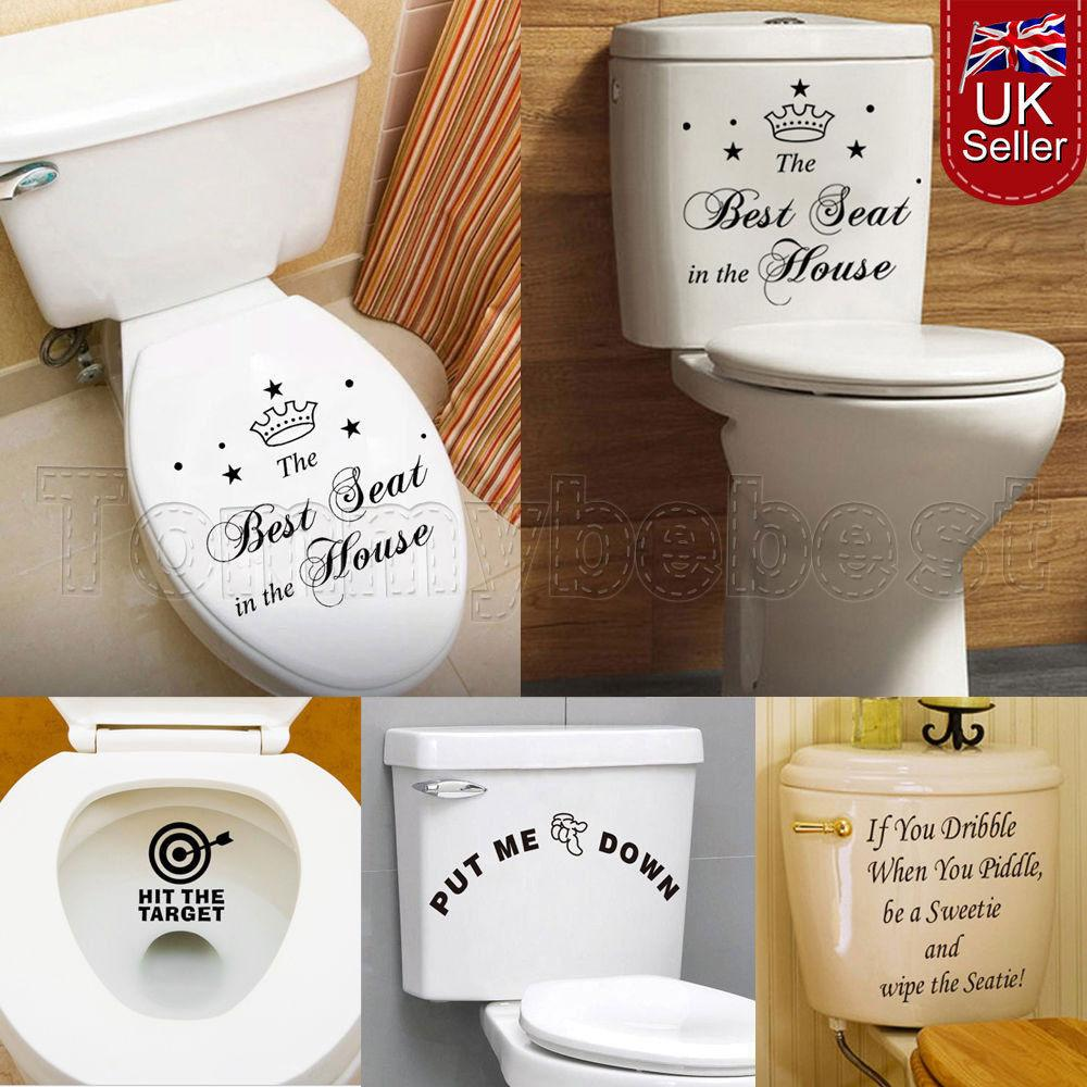 Toilet Seats Art Wall Decals Stickers Quote Bathroom